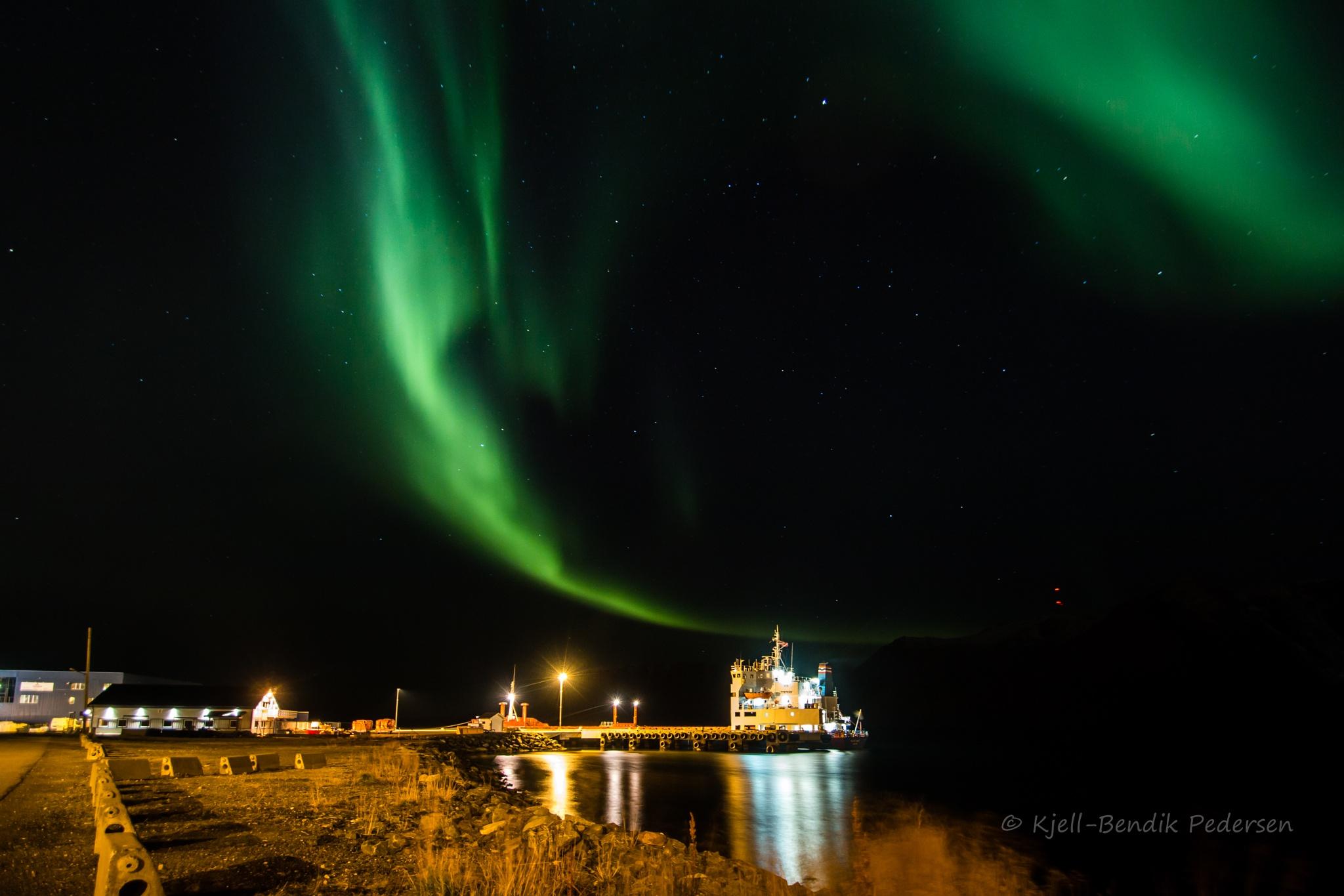 boat and Northern Lights by kjellbendik