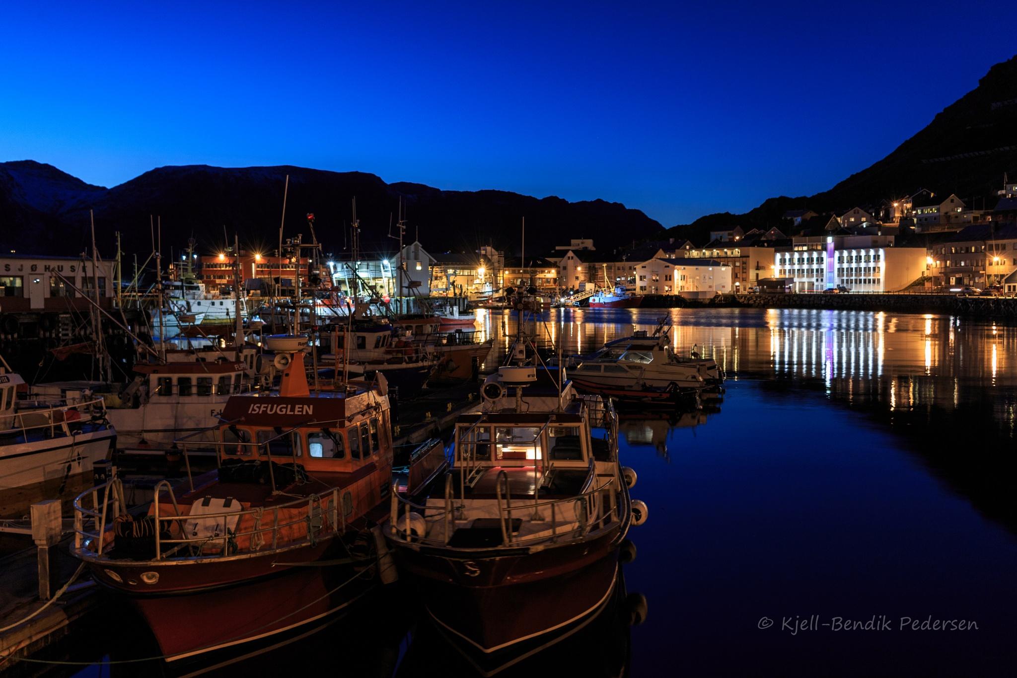 blue hour in the harbor by kjellbendik