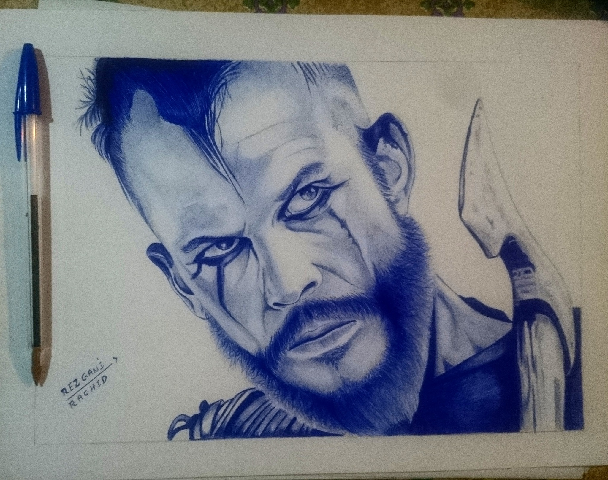 My Drawing by ballpoint bic Pen how find it  by rezgani_rachid