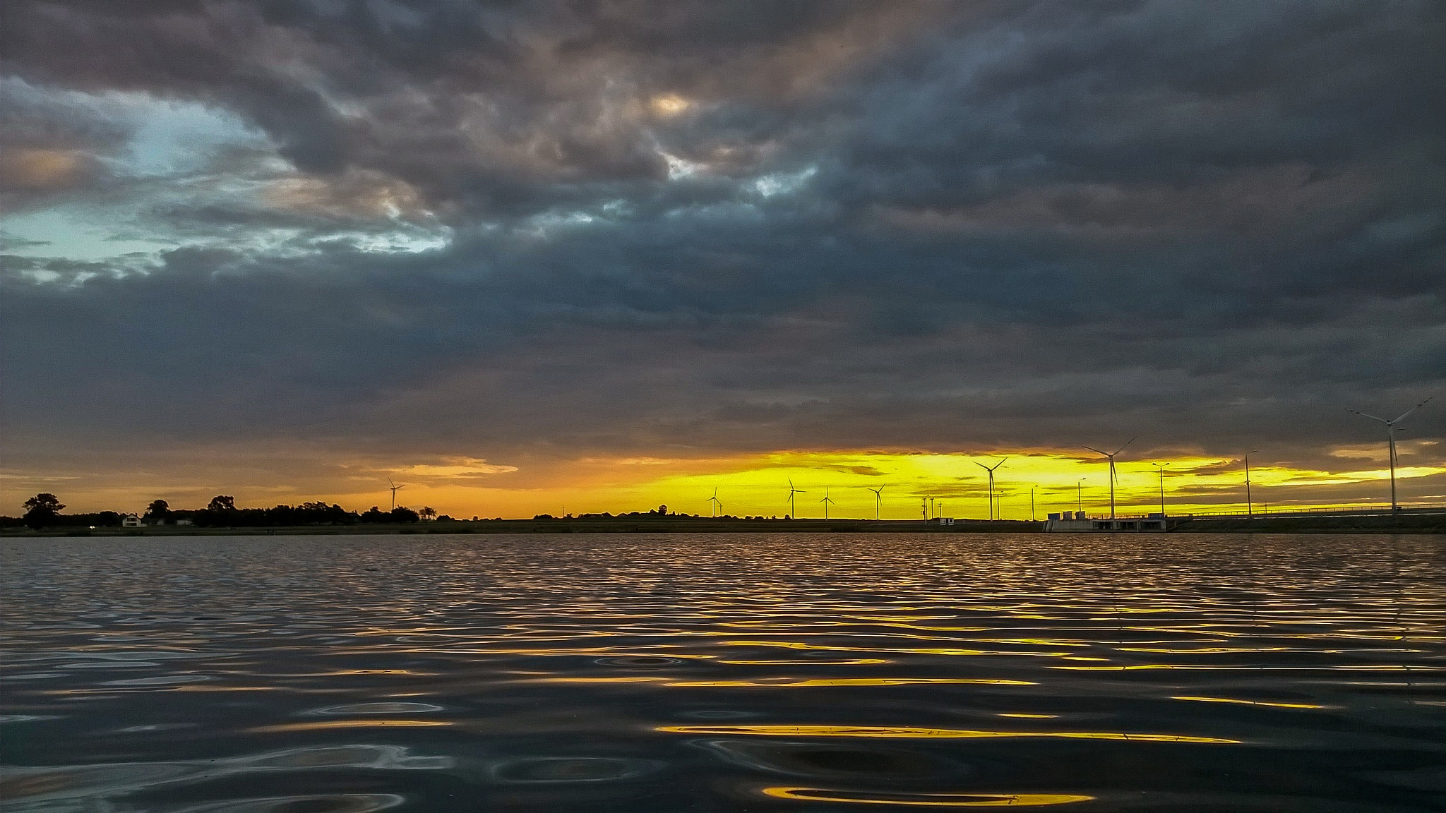 Photo in Landscape #sunset #lake #nokia #phone #windmills #water