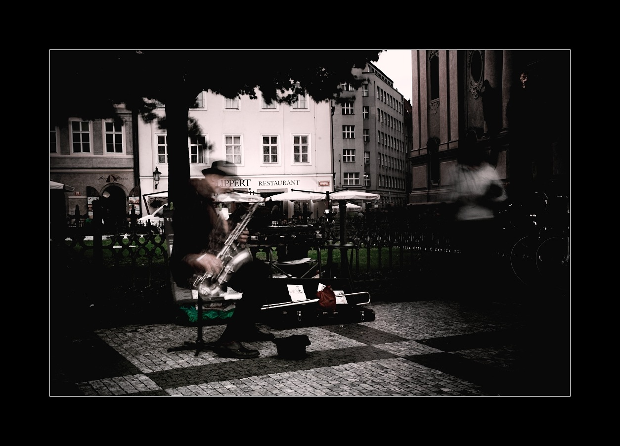 Nostalgic saxophone in Prague by Jiří Valiska