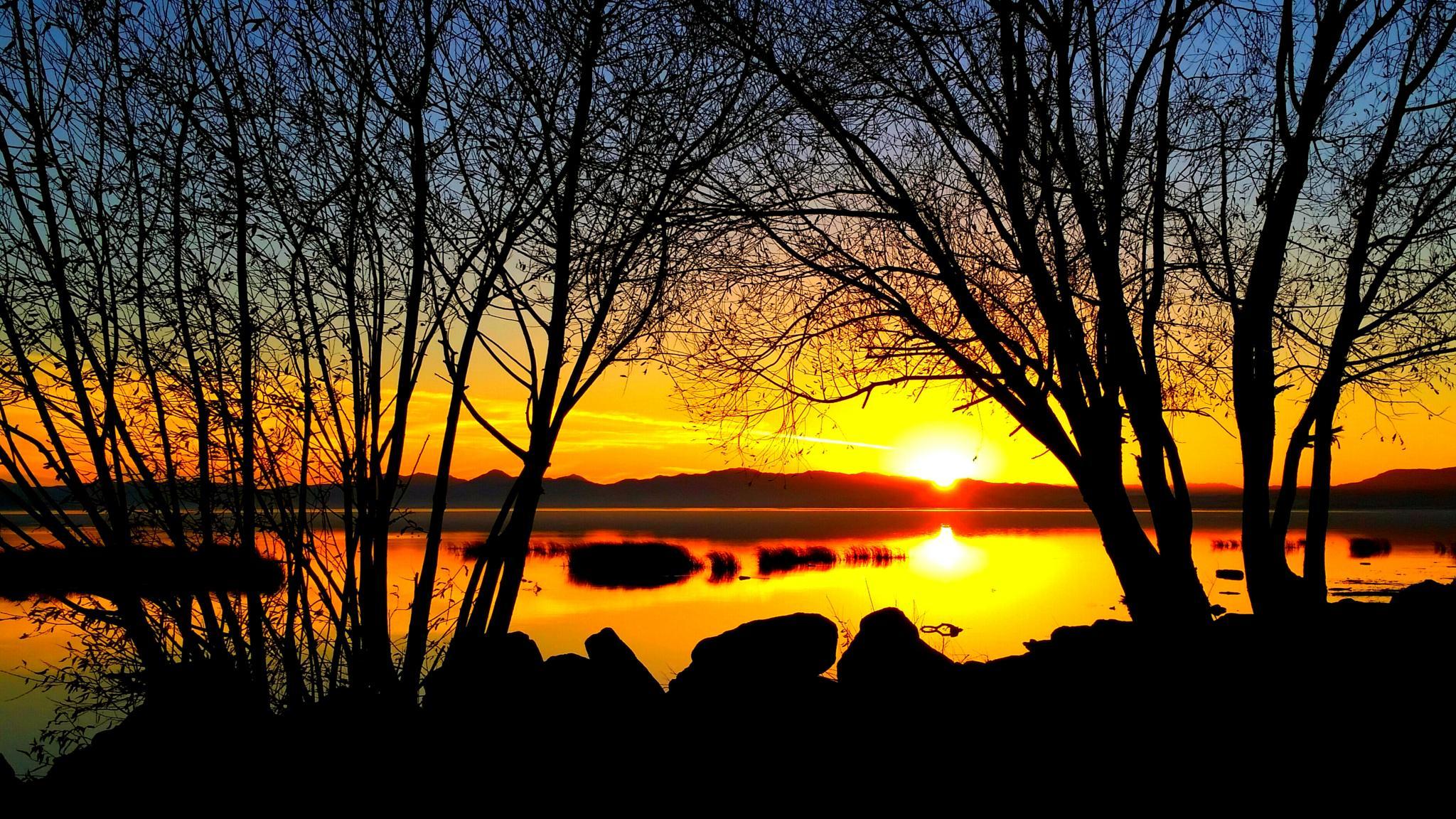 Sunset Silhouette. ...Utah Lake by Garth Rogers