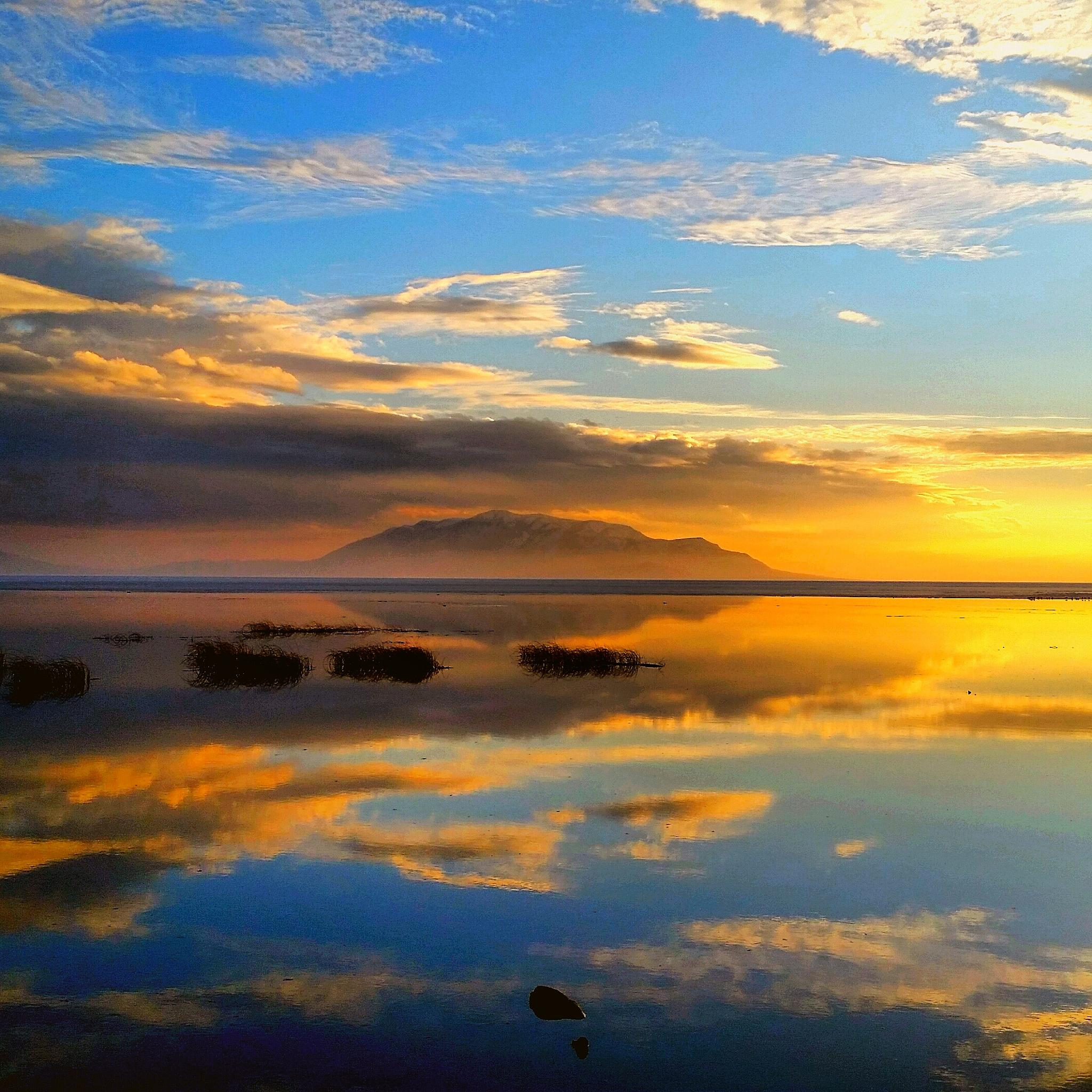 Utah Lake Reflection by Garth Rogers
