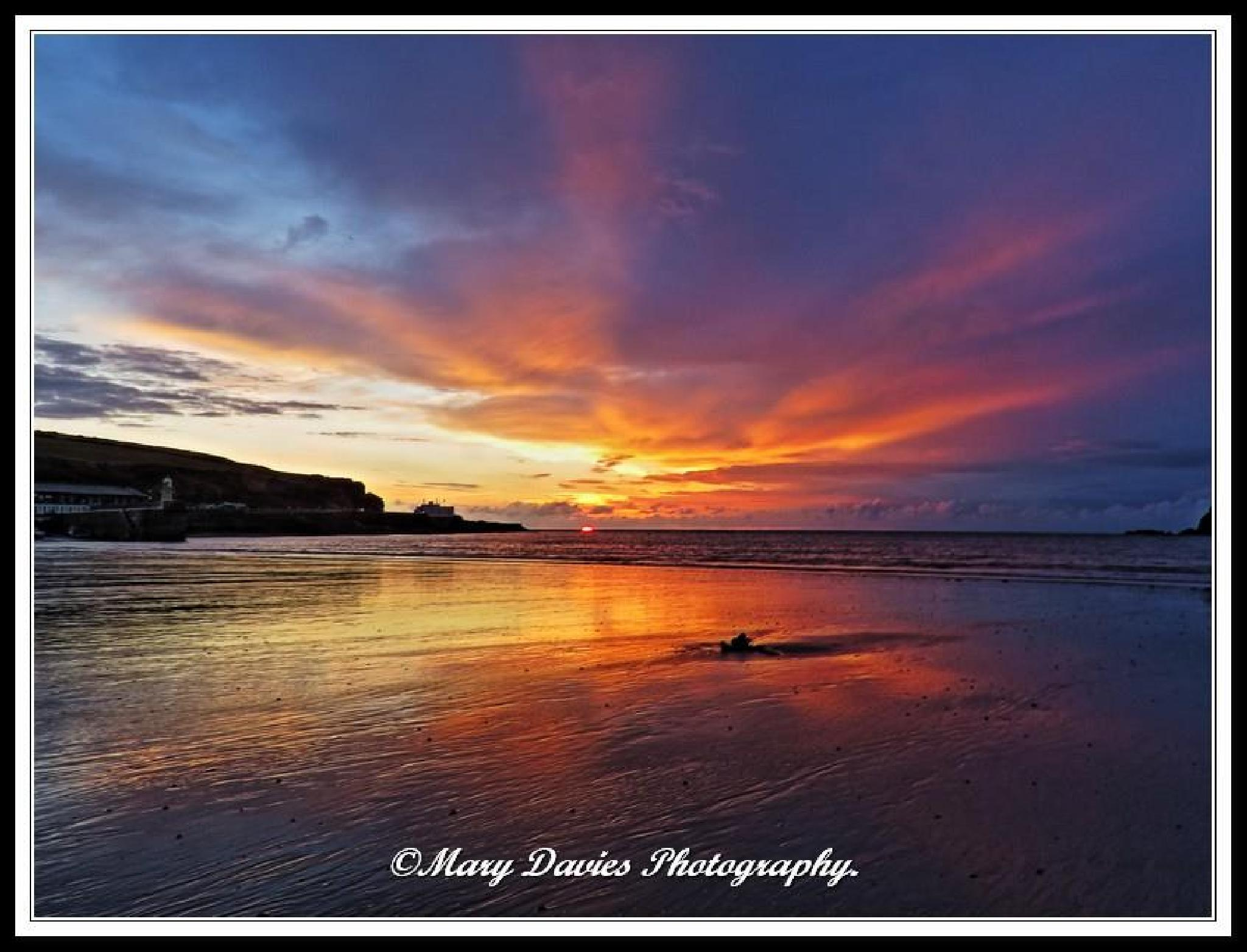 Sunset in Port Erin by Mary Davies
