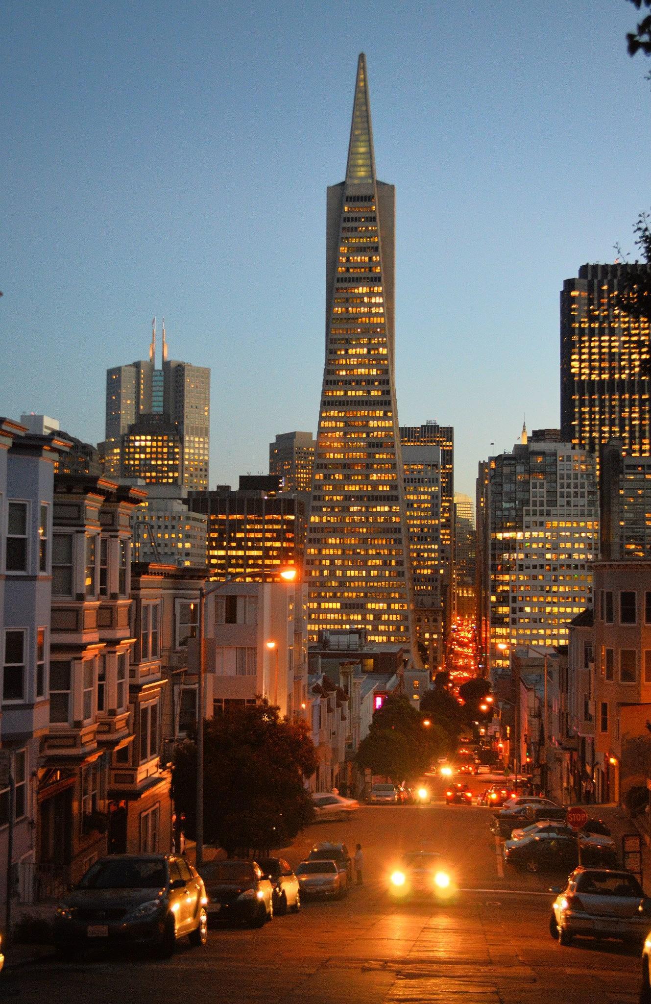 Downtown San Francisco at night by Frederico Domondon