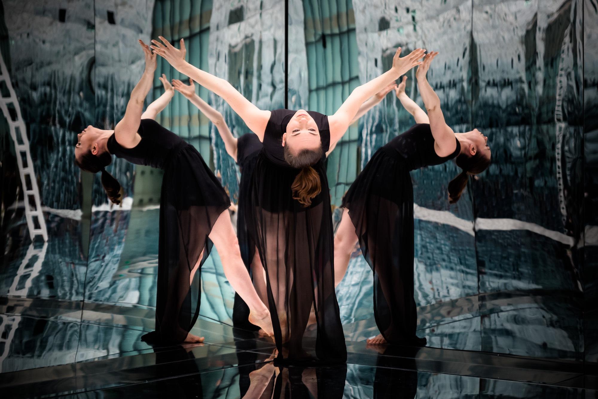 Photo in Fine Art #fineart #dance #dadancer #woman #black dress #art #mirrors #reflection