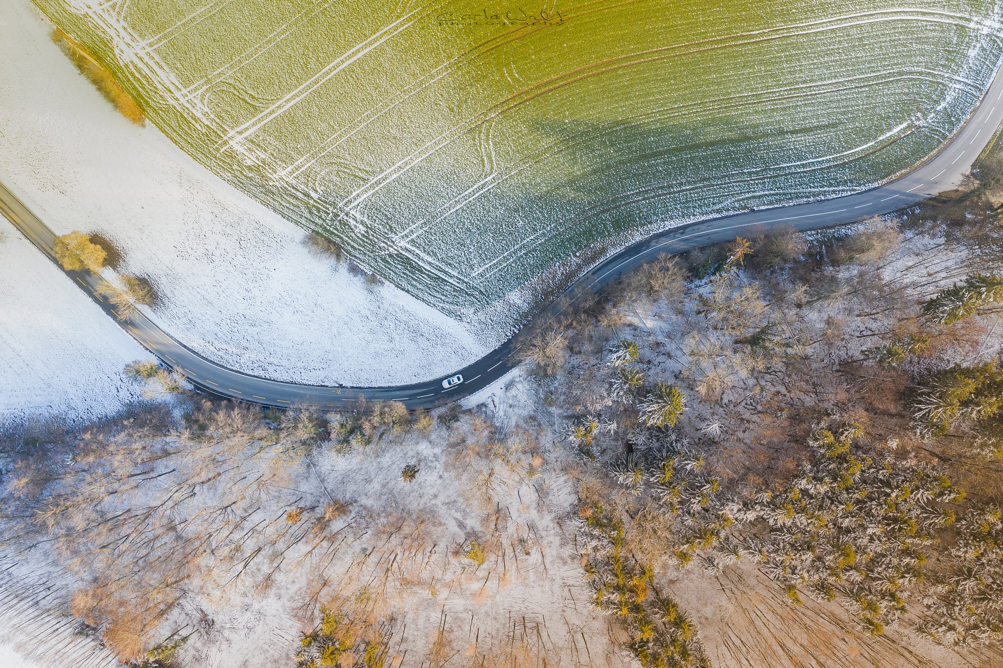 Photo in Aerial #street #courve #car #snow #forest #trees #winter #drone #aerial #carlo #walti