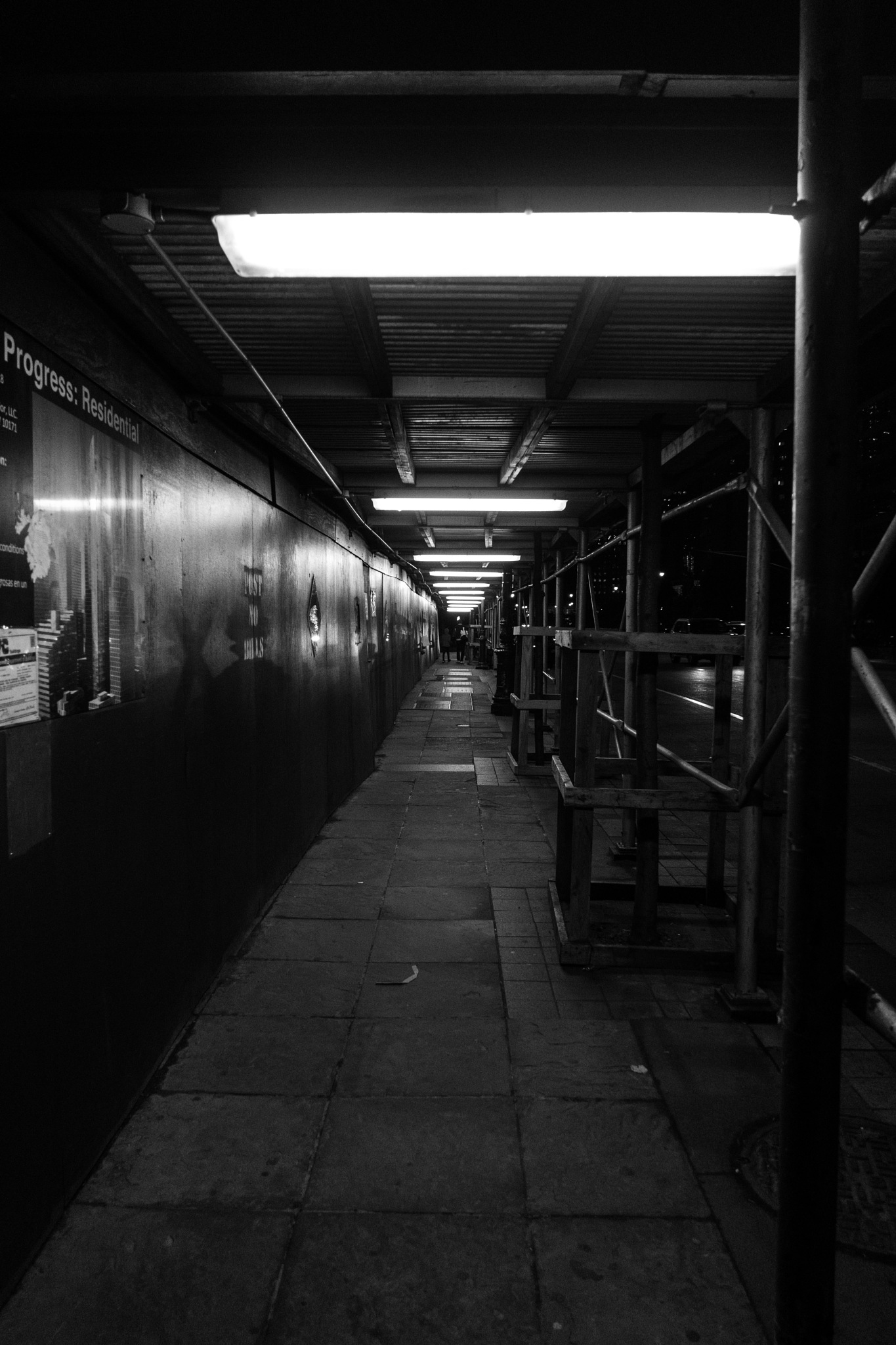 Photo in Black and White #nyc #sidewalk #walk #walk a lot #black and white #working space #car #light #dark #night #wall #poster #beautiful #mood