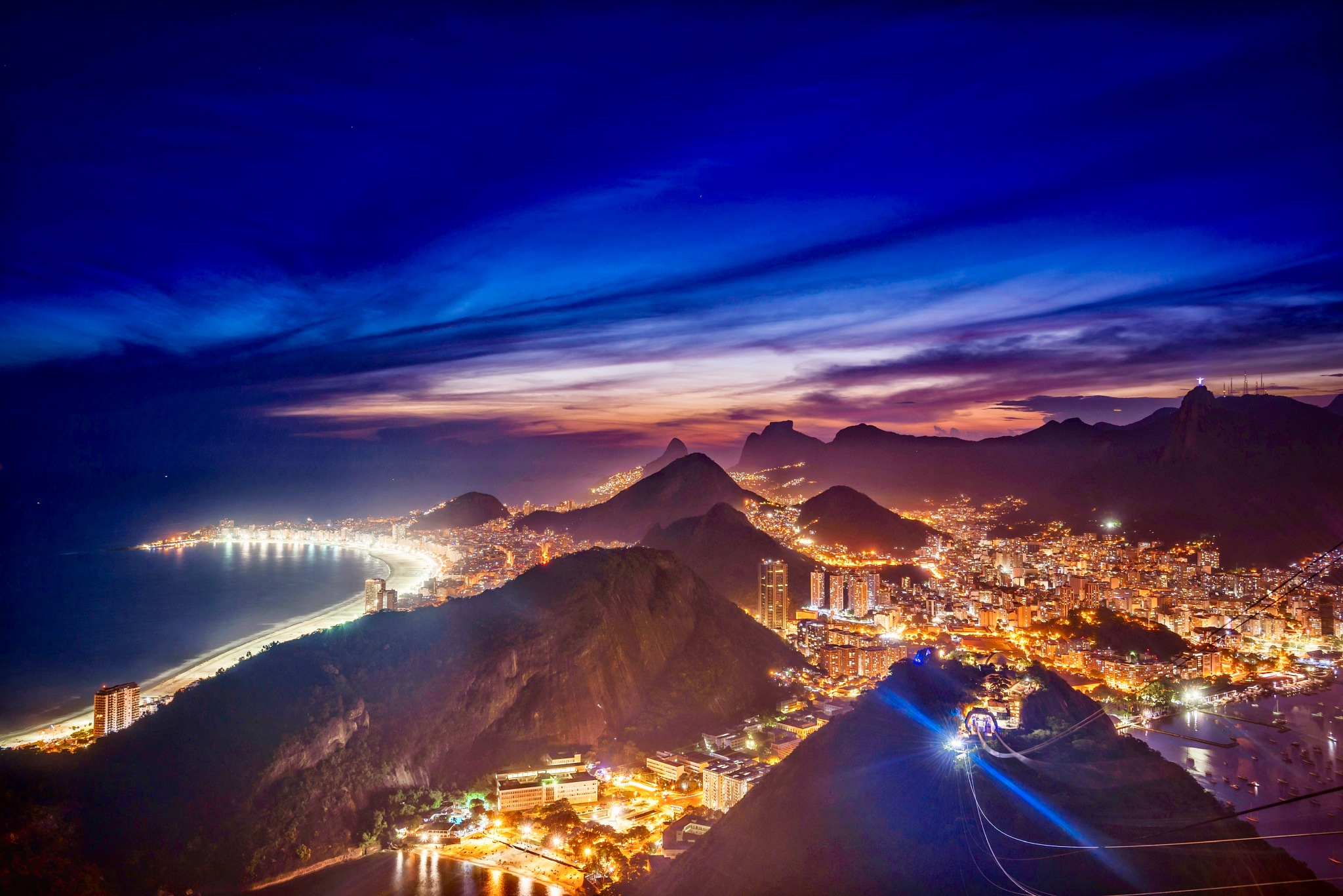 Photo in Travel #rio #sugarloaf #ipanema #blue hour #blue #night #colors #light
