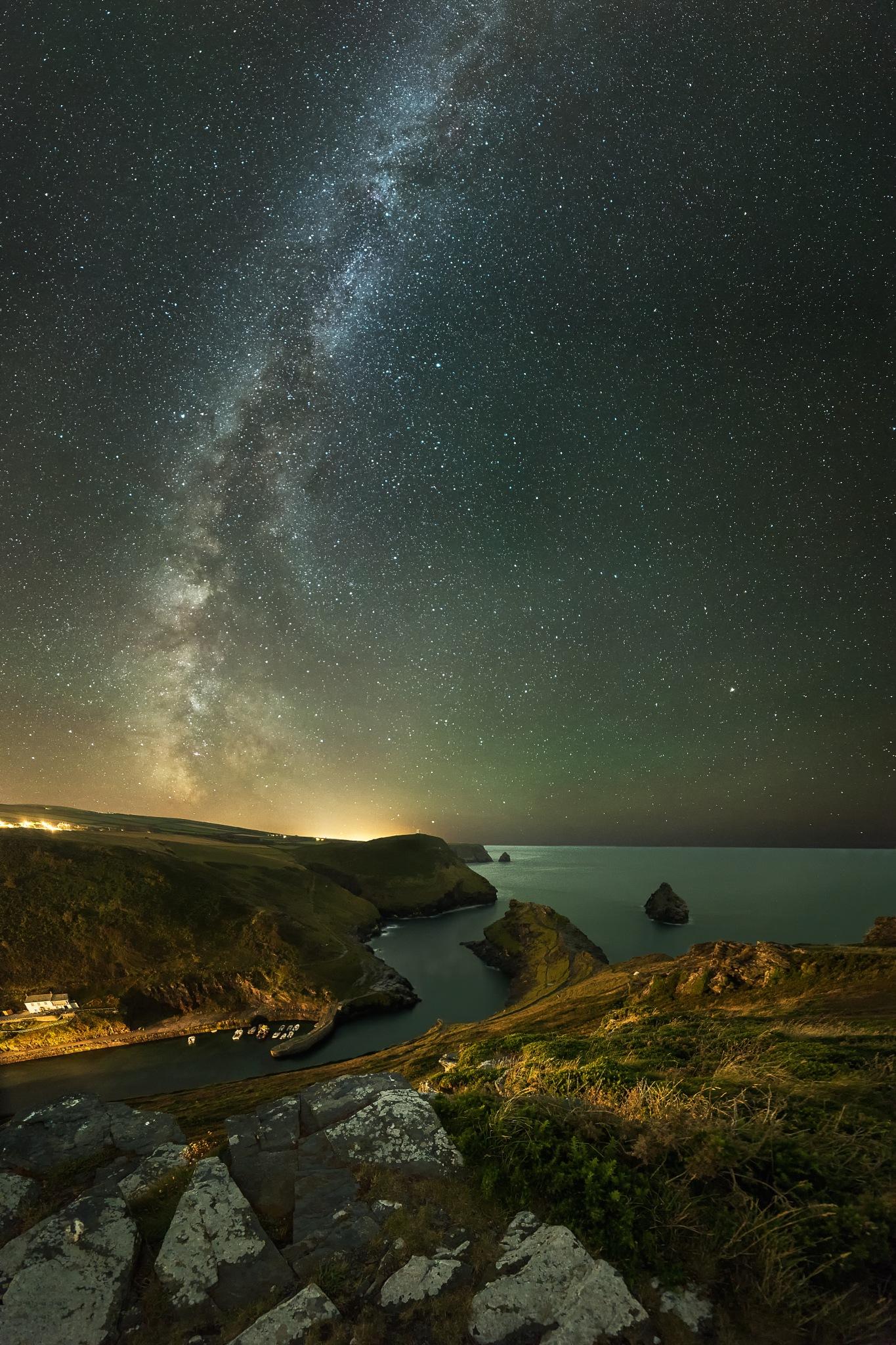 Photo in Astrophotography #stars #milky way #night sky #nightscape #night photography #seascape #cornwall #boscastle
