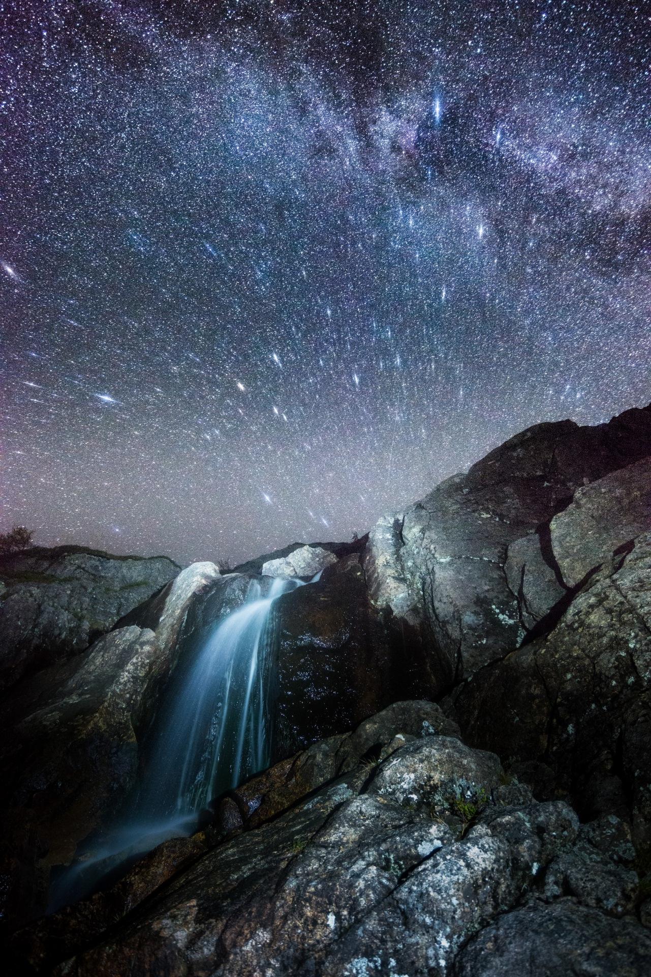 Waterfall in the night by E Pedersen