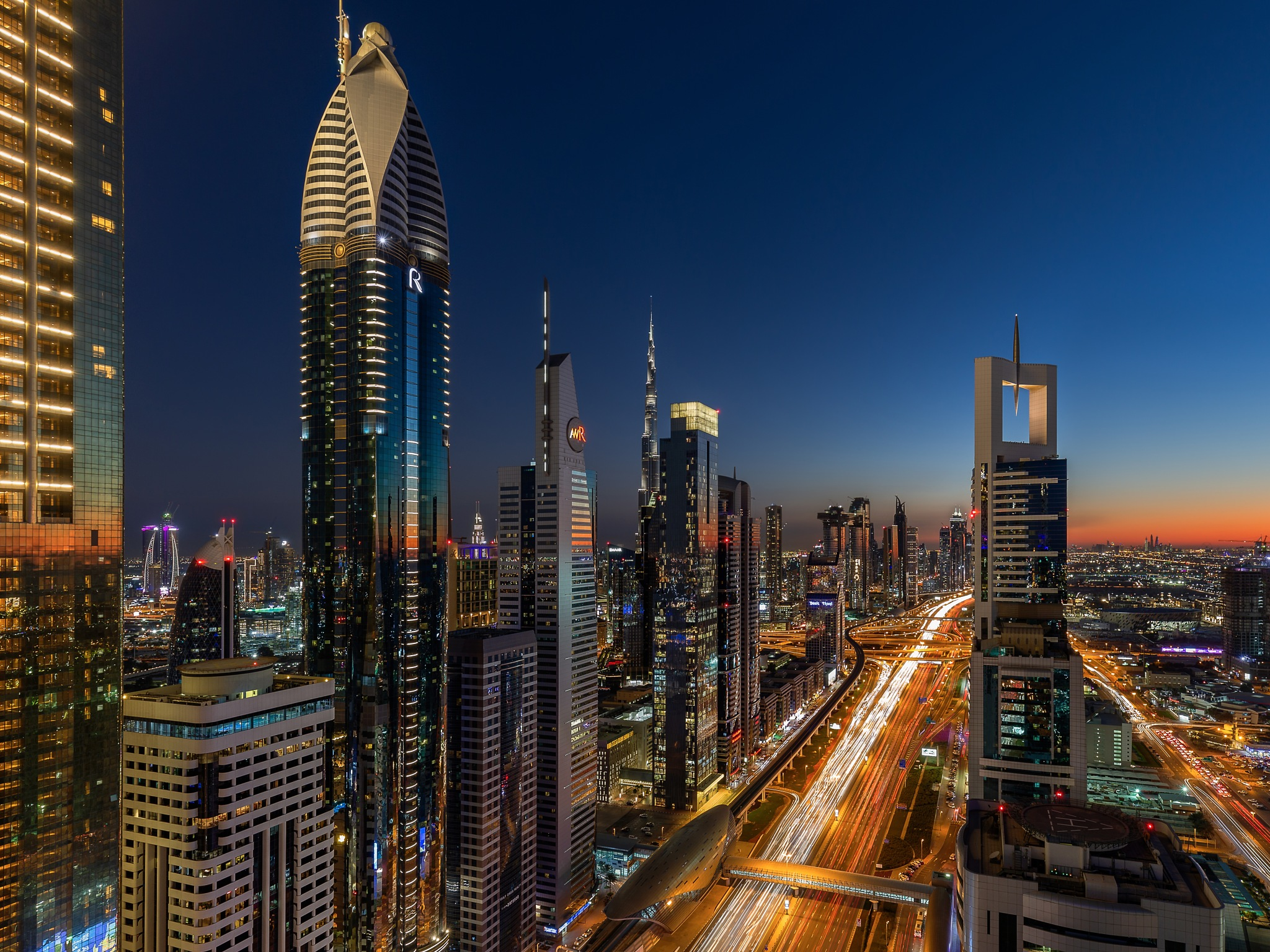 Photo in Cityscape #cityscape #dubai #four points #rooftop #skyline #street #long exposure #colors #sky #lights #light #skyscrapers #skyscraper #road #futuristic #city #architecture #canon #6d #travel