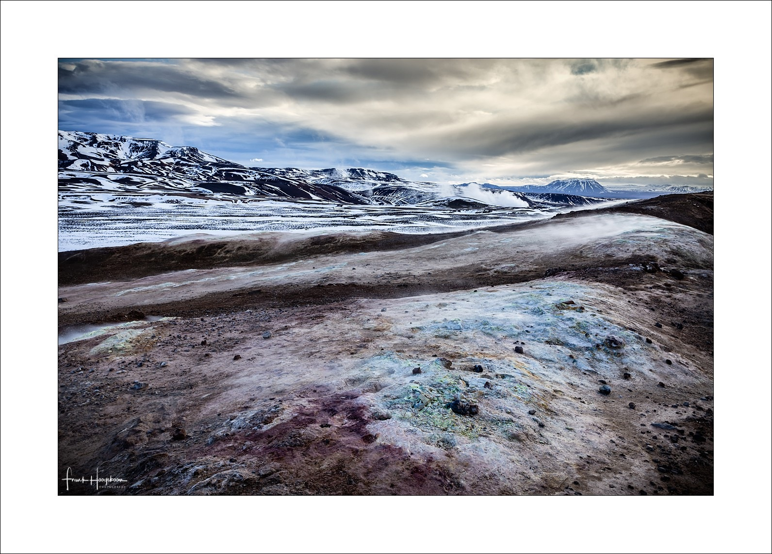 Photo in Landscape #krafla #iceland #scandinavia #landscape #vulcano #volcano #ashes #lava #magma #geothermal #sky #clouds #mountains #snow #ice #colors #colorful #dramatic #light #earth #ground #soil #fine art #snowcap #nature #outdoors #travel #iconic