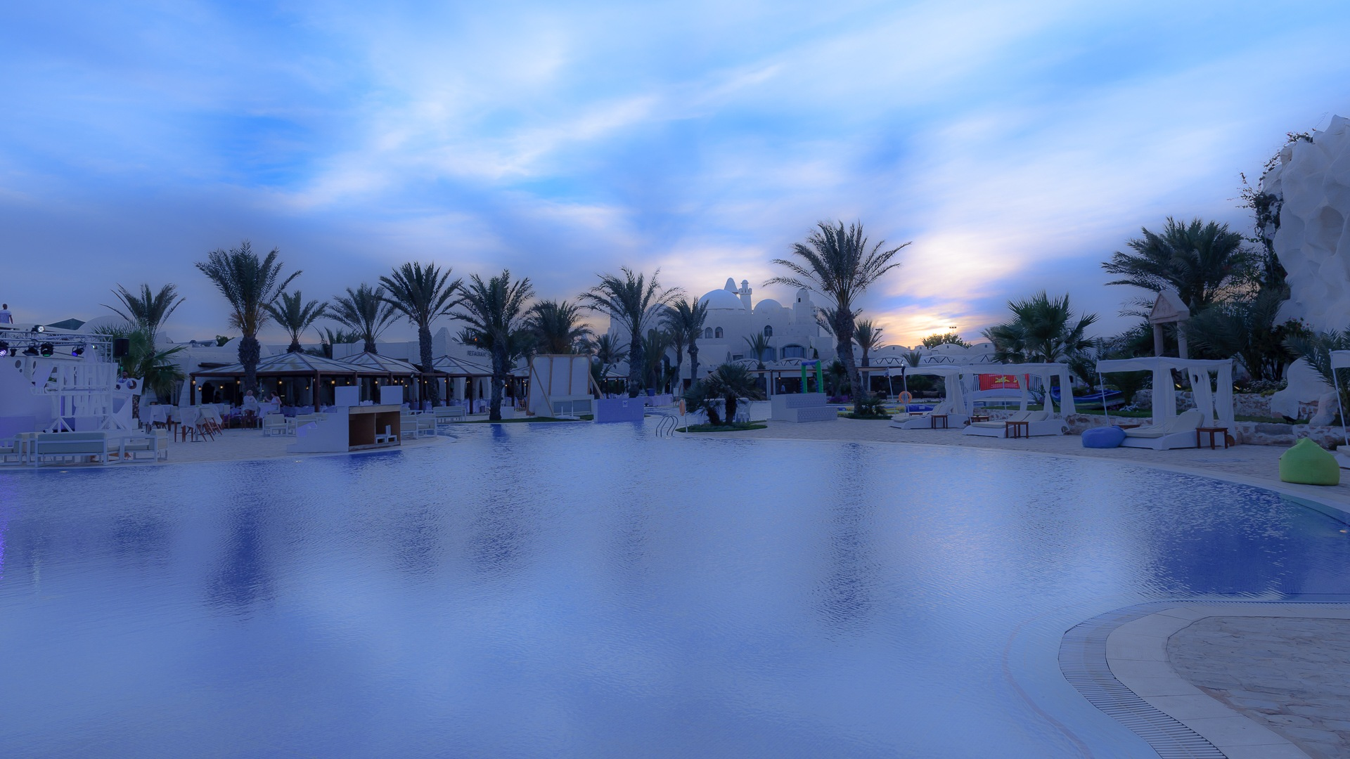 Photo in Abstract #pool #sundown #palm #sky