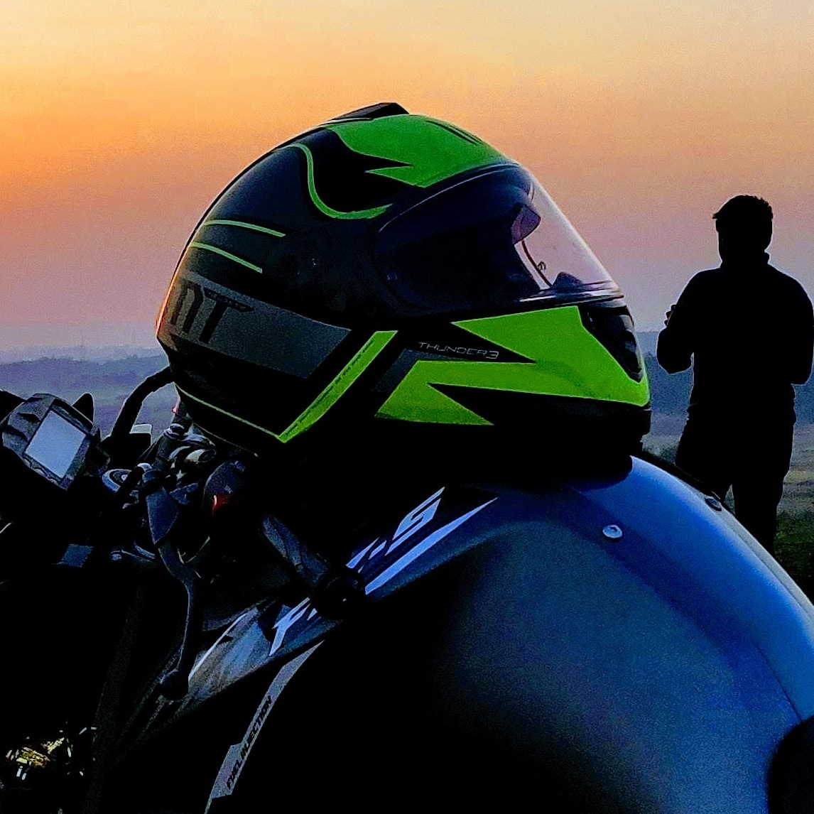 Fzs Fi bike and MT helmet In sunset by by_the_way_23