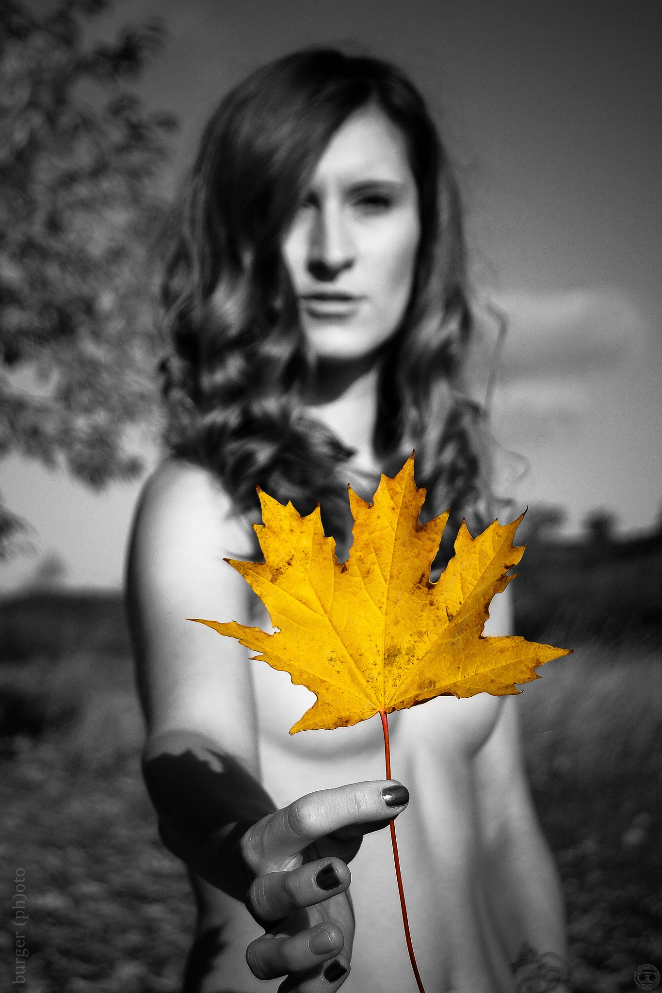 Photo in People #monochrome #separation #autumn #leave #girl #naked #exterior