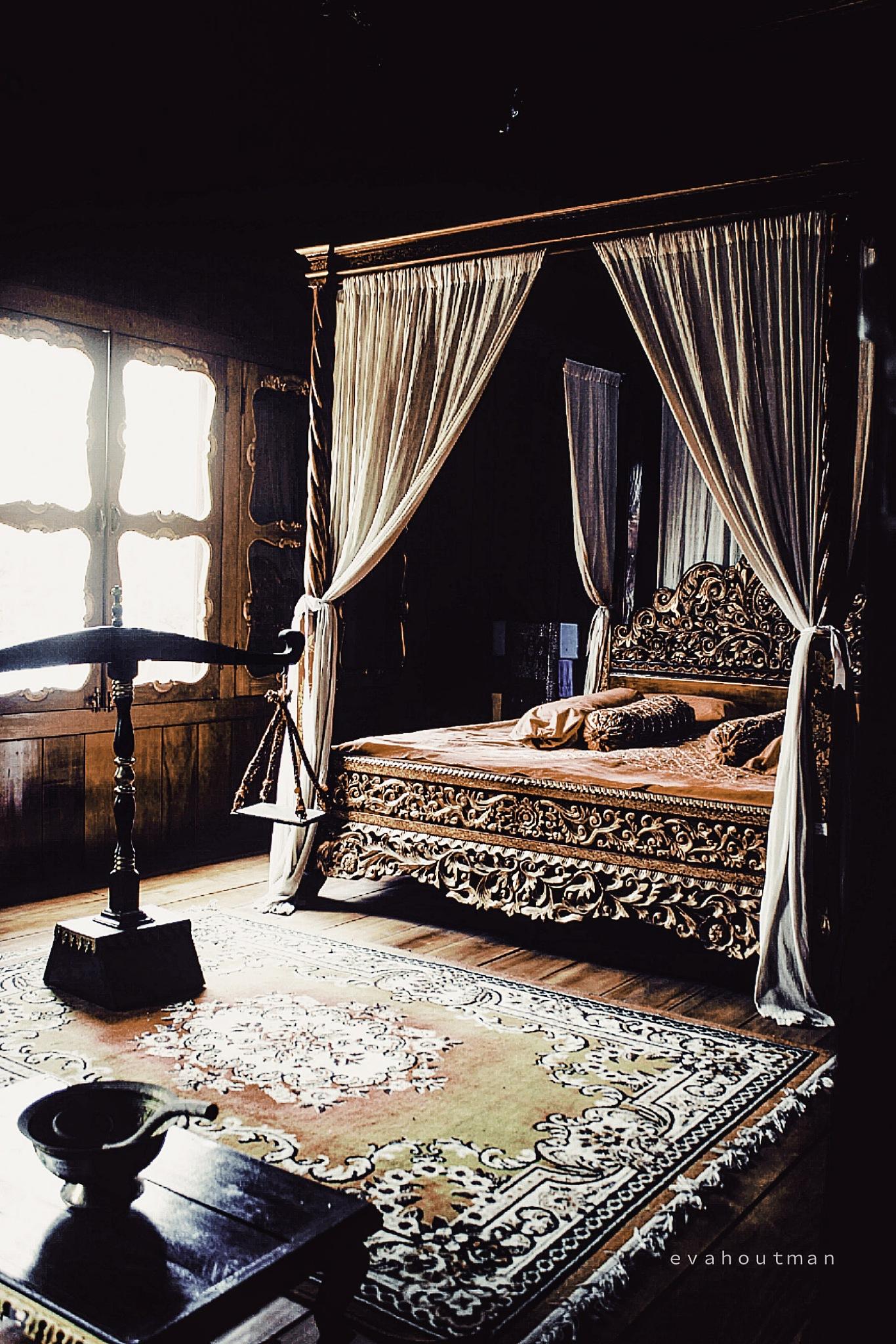 Photo in Random #evahoutman #peraduan #photography #mobileprints #classic #tradition #traditional #indoor #sumatera #melayu #indonesia #image #wallpaper #themes #lightroom #light #rug #no one #no person #window #room #bed #bedroom #ceritaeva #carve #golden carve #curtain