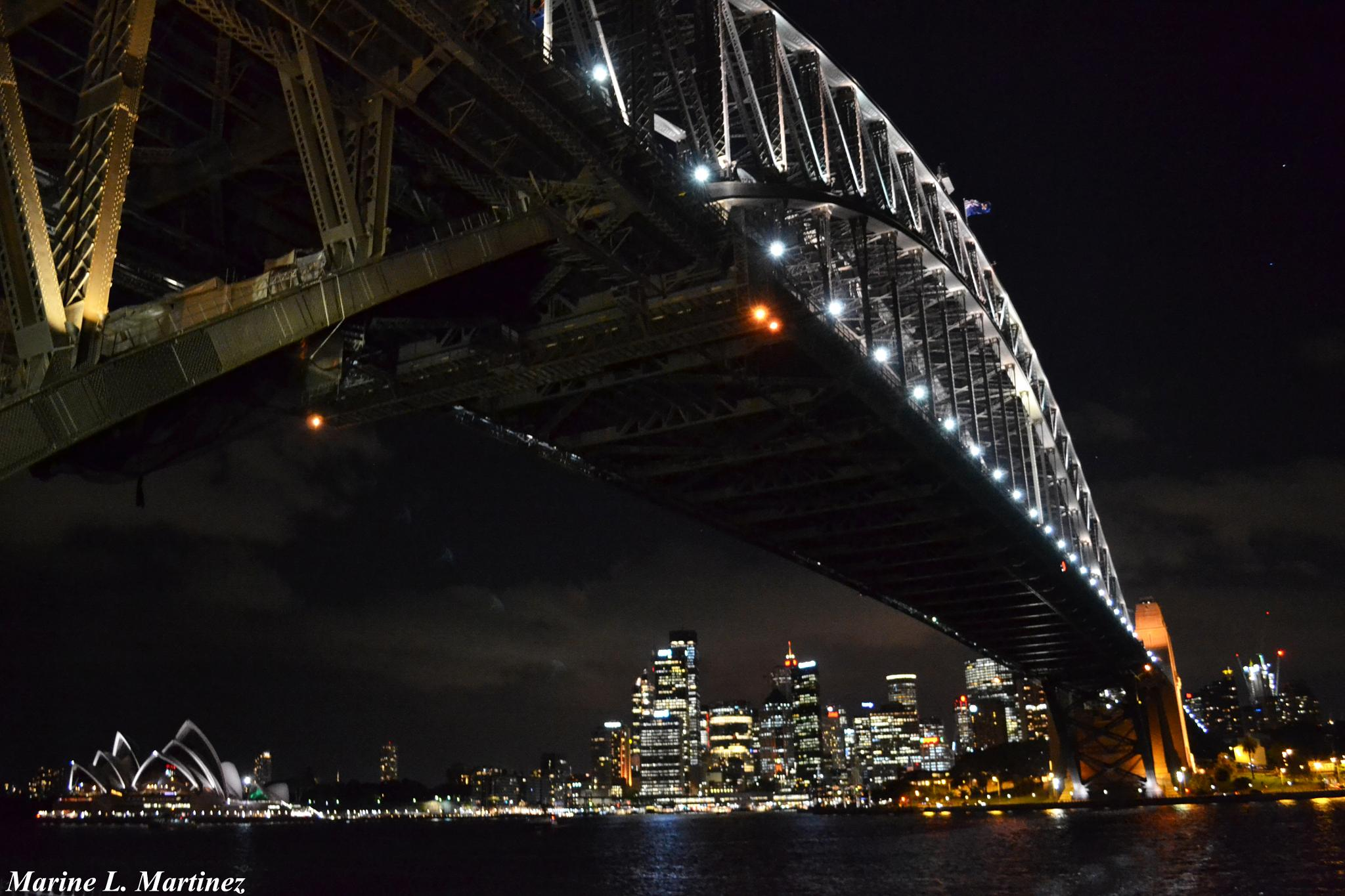 Sydney Harbour Bridge and The Opera House by night, Sydney - Australia by Marine Martinez
