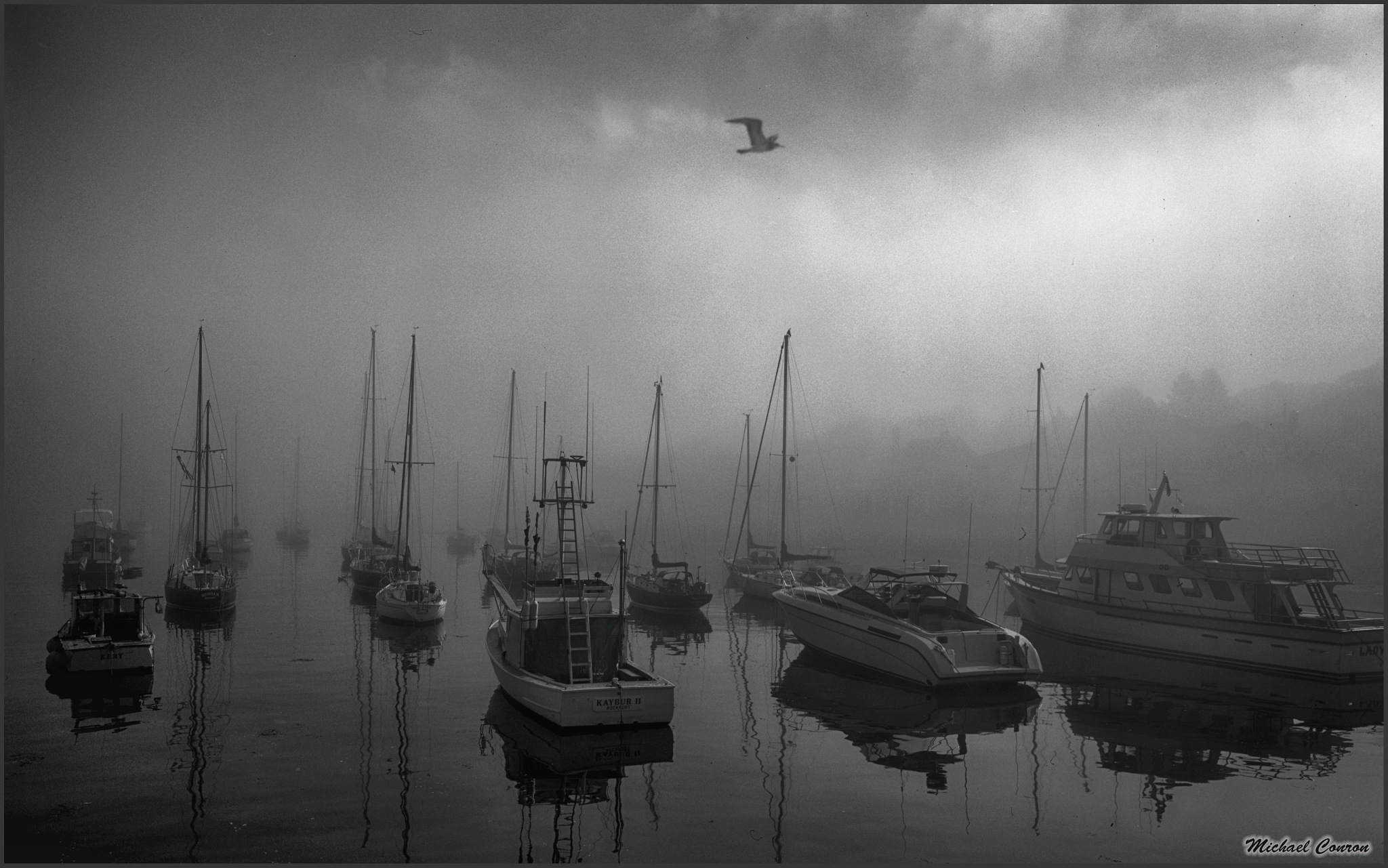 Misty Morning in Rockport, Maine by Michael Conron