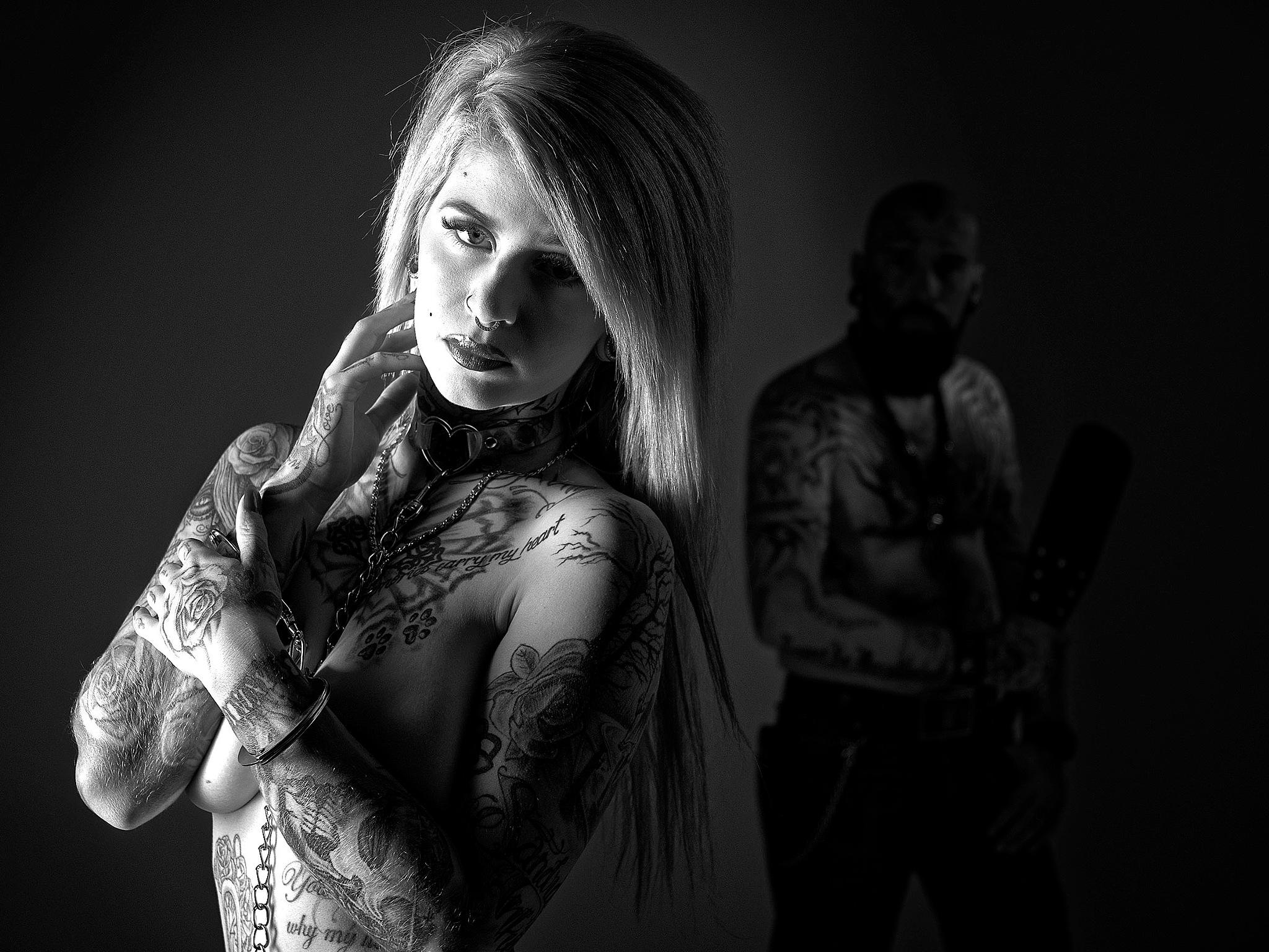 Photo in Nude #bdsm #nude #women #tattoo #blackandwhite