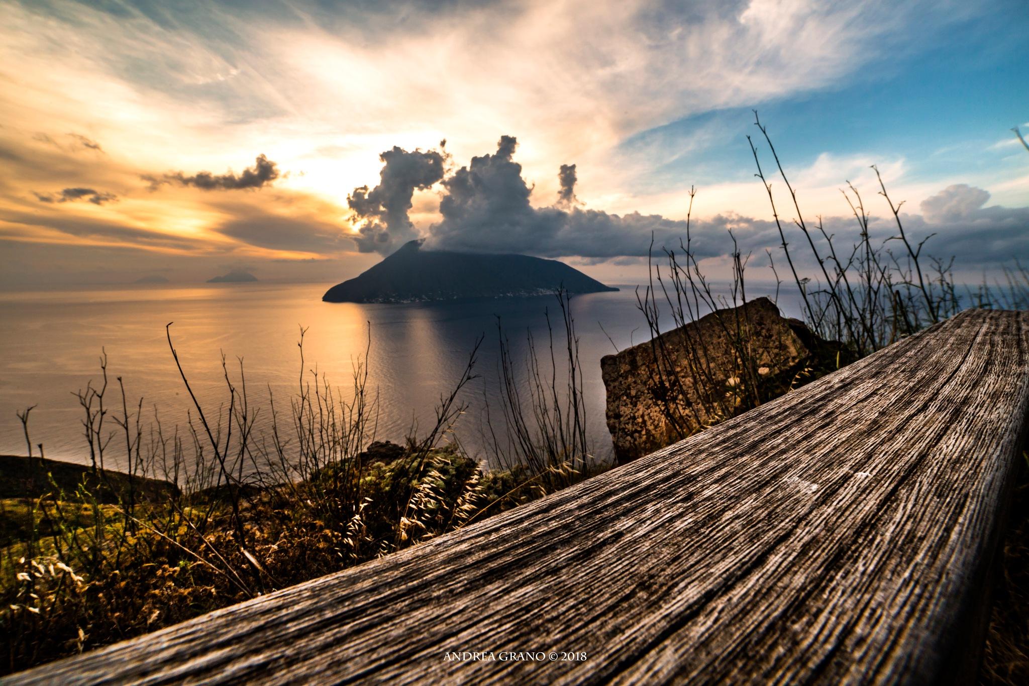 Salina at sunset by Andrea Grano