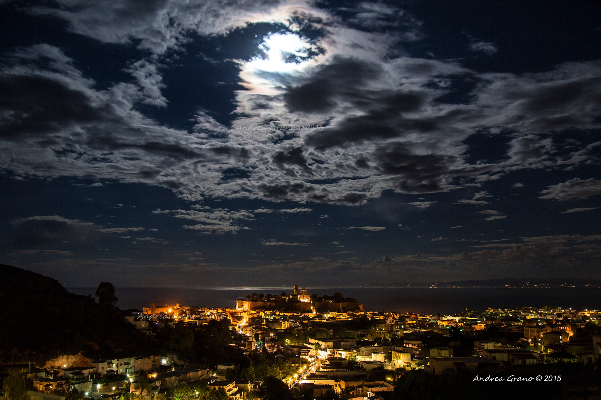 Photo in Random #moon #night #nightshot #clouds #sky #nightsky #castle #lipari #eolie #light