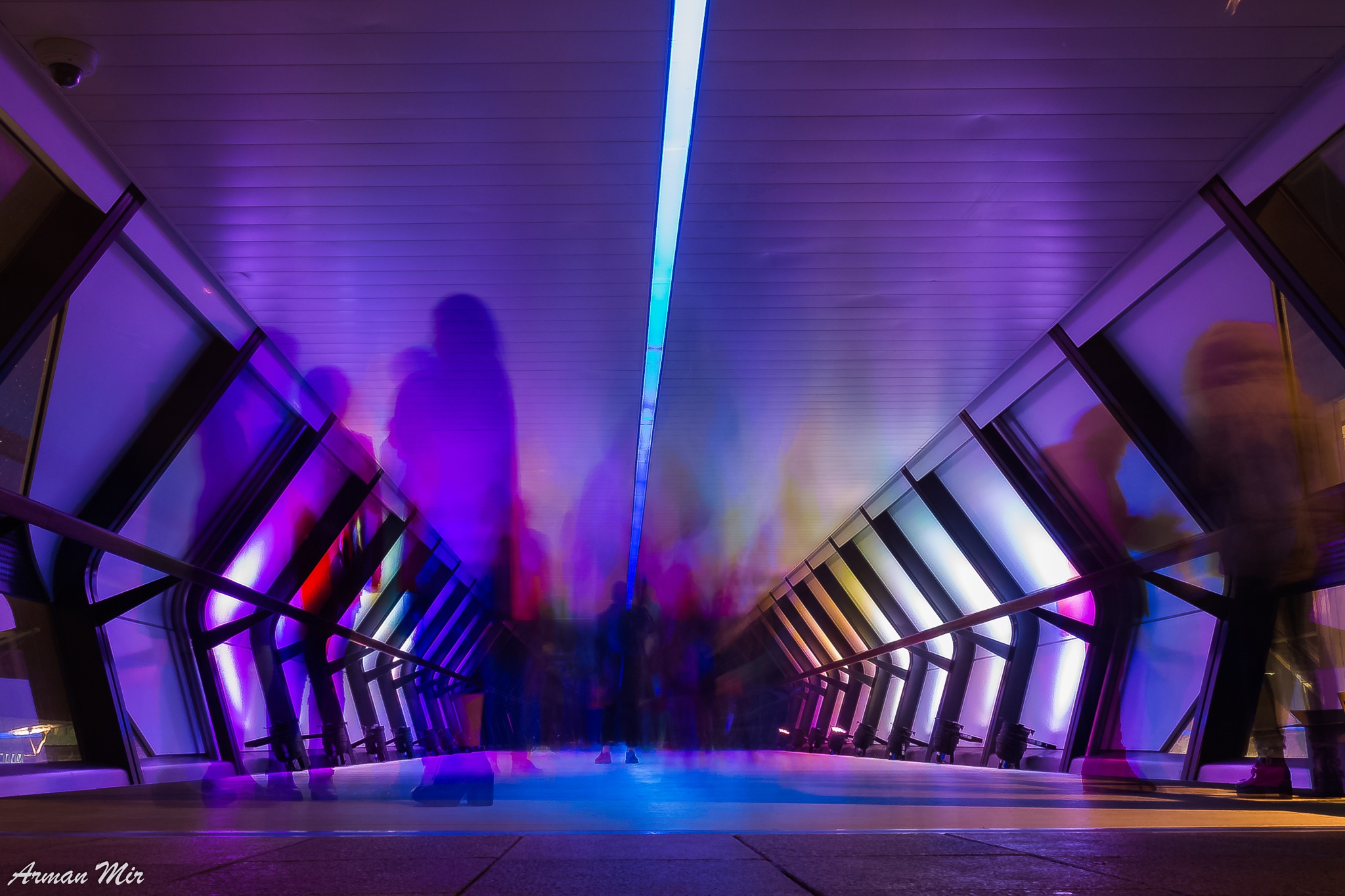 Photo in Street Photography #ghost #ghosts #purple #tunnel #people #street photography #light #creative #crossrail #crossrail place #london #night photography