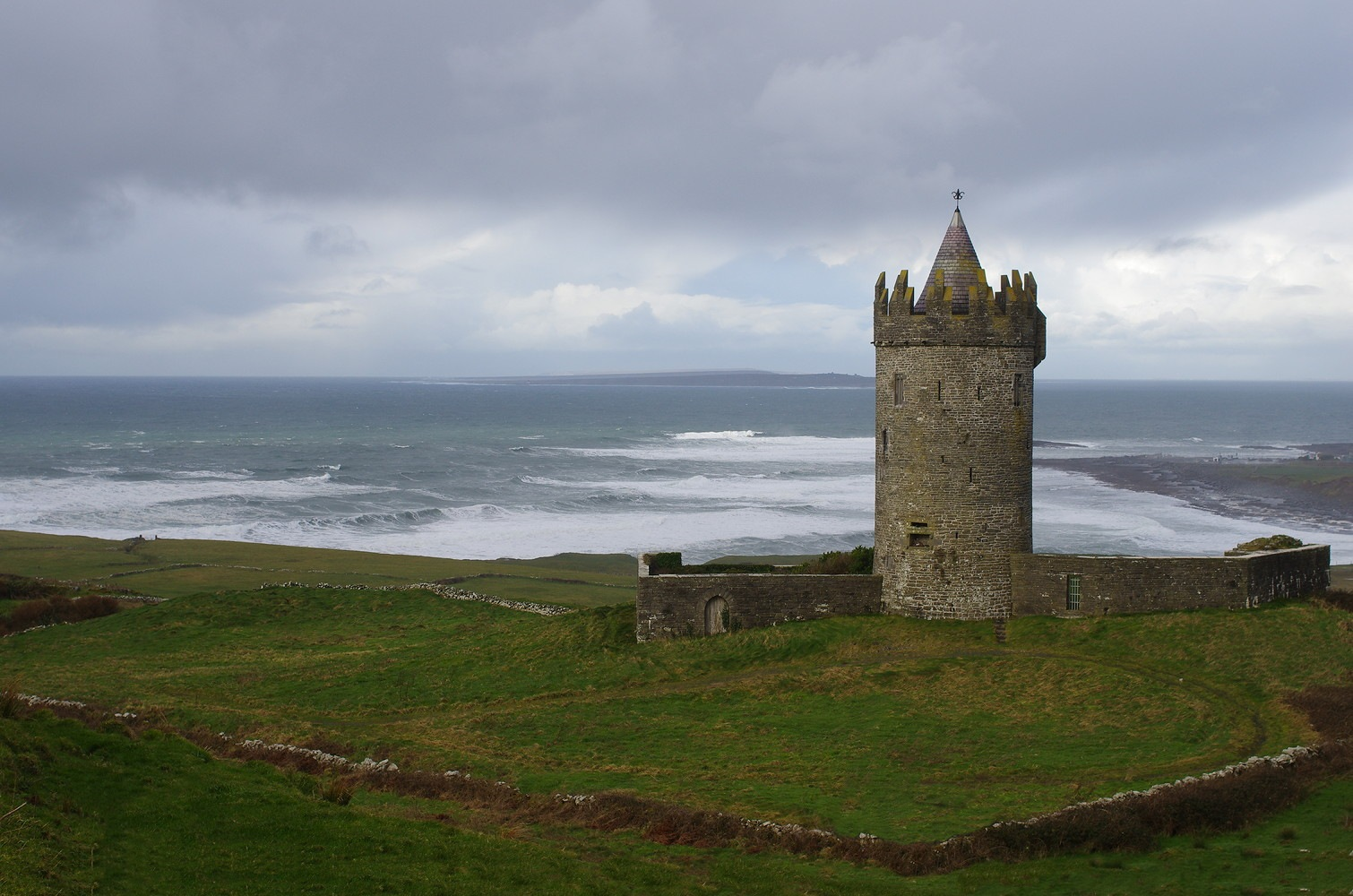 Photo in Architecture #castle #ocean #water #waves #clouds #seascape #ireland #medieval