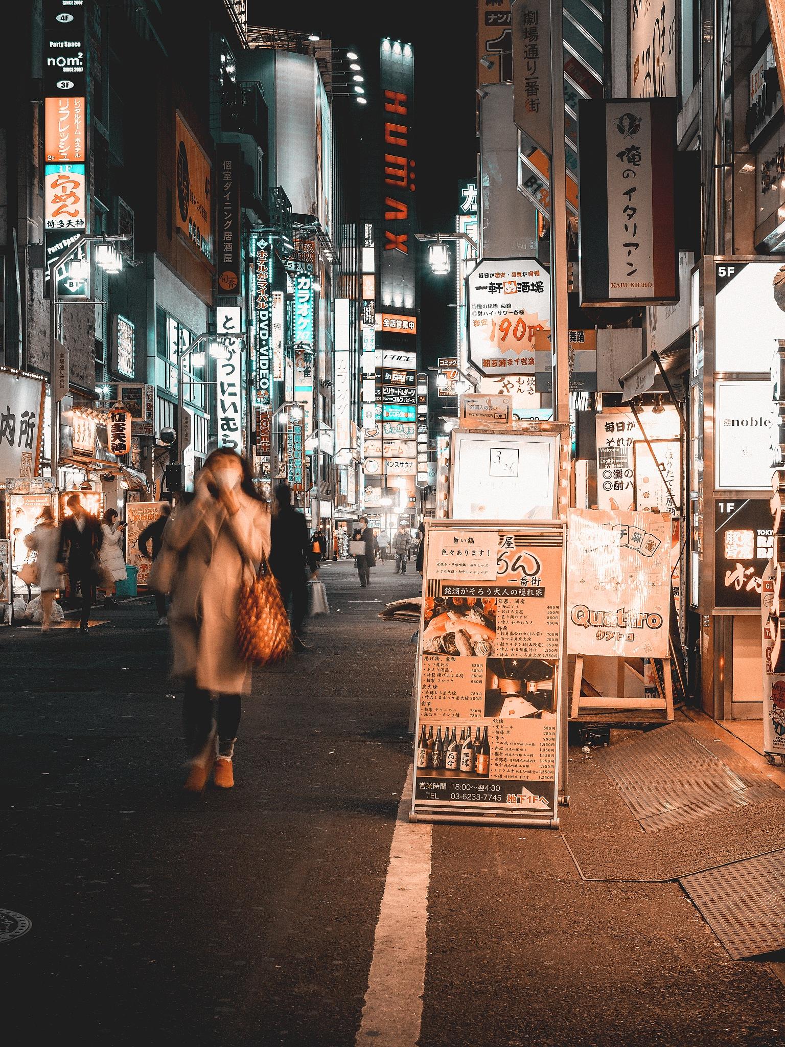 Photo in Street Photography #orange and teal #one night in tokyo #night out #japan #tokyo #tokio #asia #far east #neon light #lights #people #shinjuku
