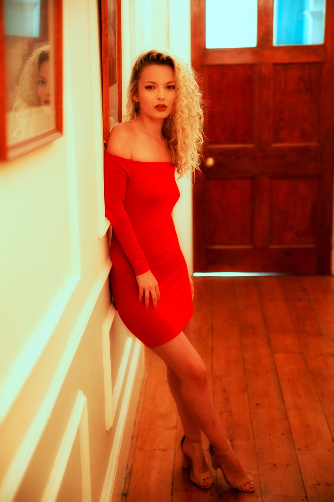 Photo in People #mirror reflection #red dress #blonde hair