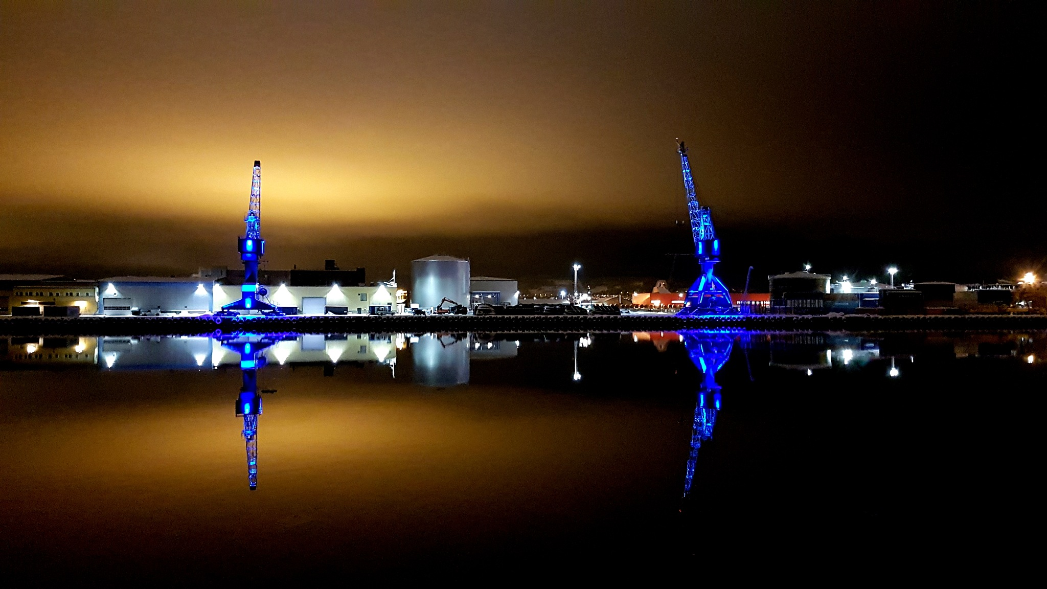Blue Harbour Cranes by Thor Dullum