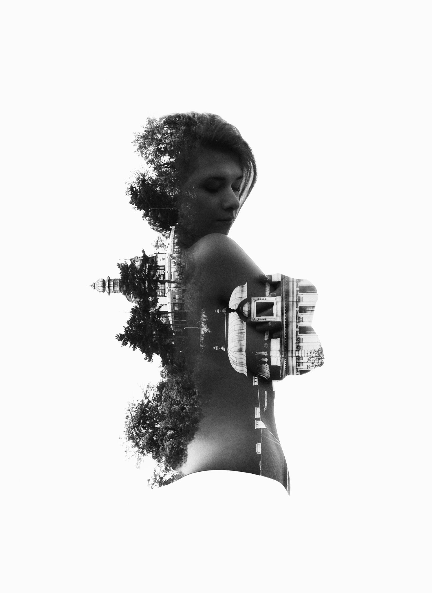 Photo in Abstract #double #exposure #black #white #skin #skinny #young #girl #model #nude #naked #face #head #portrait #trees #town #city #art #fineart #modern #people #vintage #old #retro