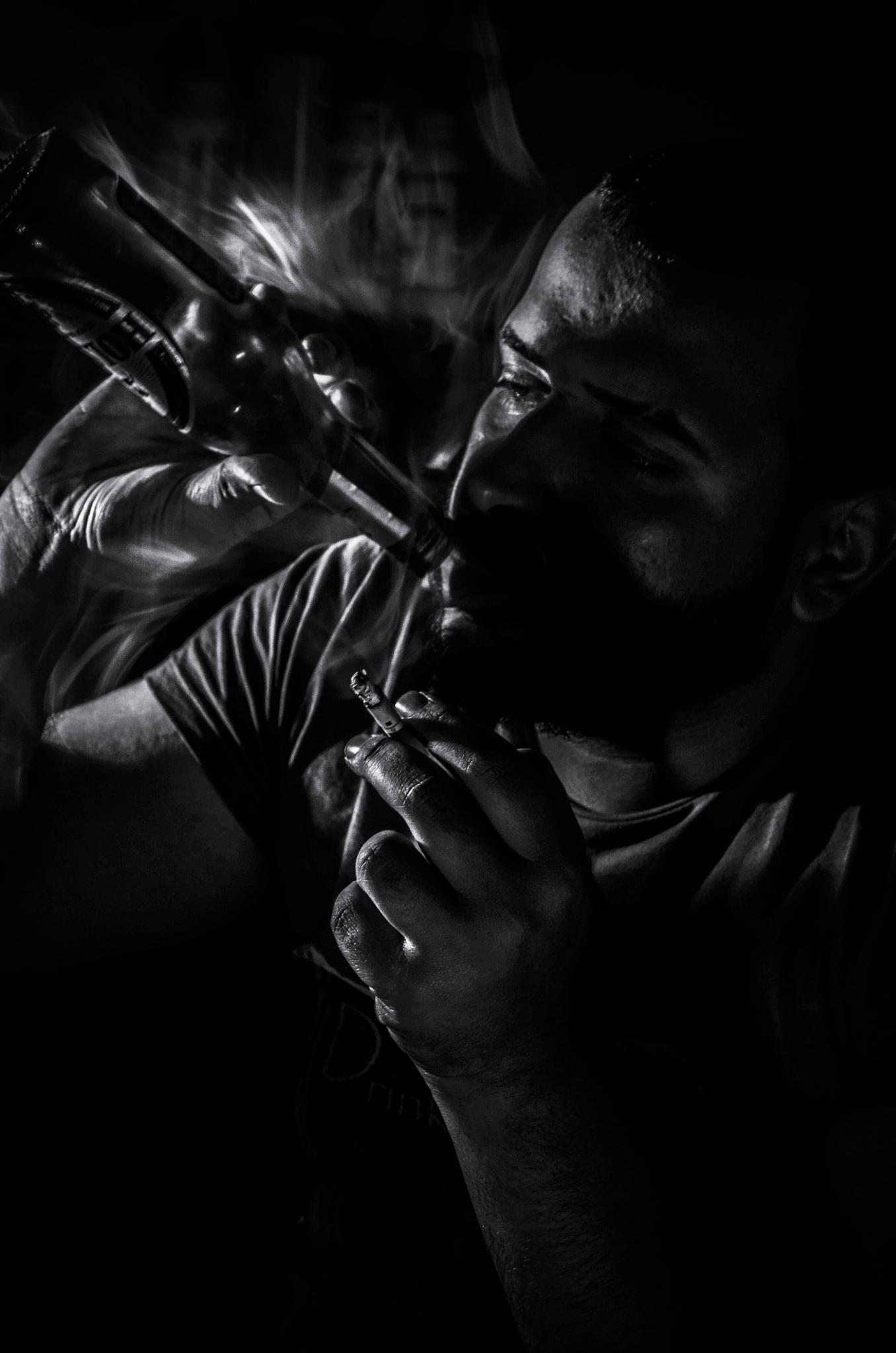 My Friend smoking & drinking by Ahmed Ayyad Al-Shemarry