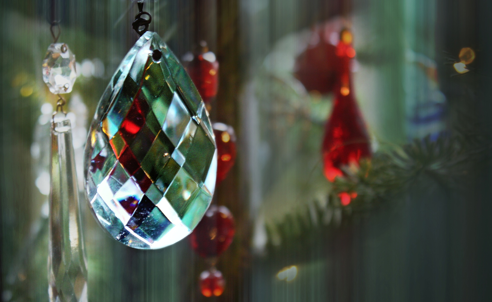 Glass ornaments on the Christmas tree  by Helen Burridge