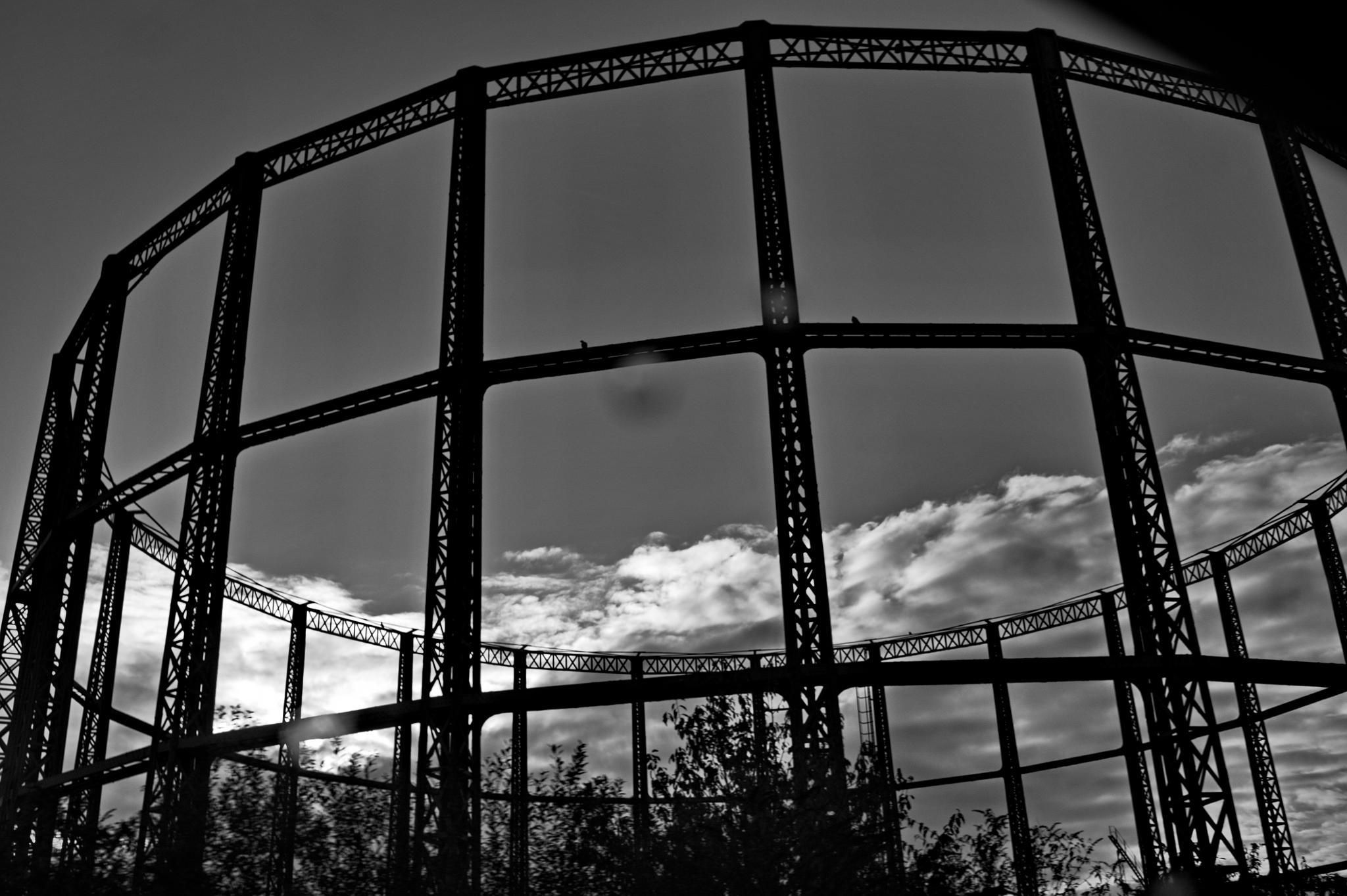 Photo in Black and White #northam #gas storage #gasometer