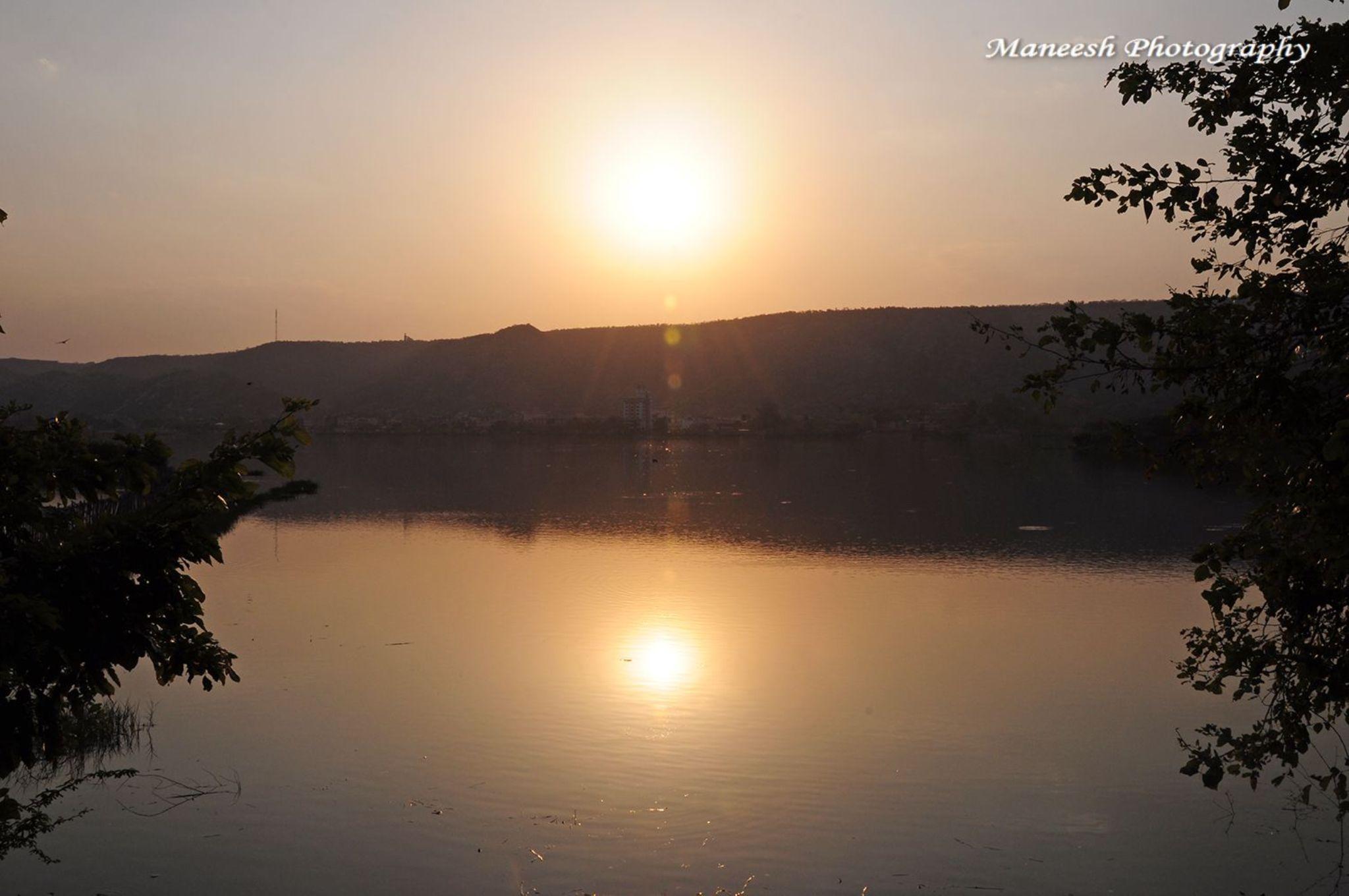 Sun Reflect in Man Sagar Lake PINK City Jaipur  by Maneesh Sharma