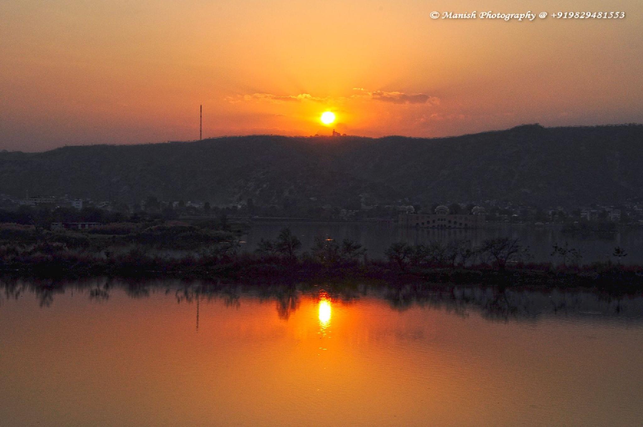 Sunset at Man Sagar Lake, Jaipur, India by Maneesh Sharma