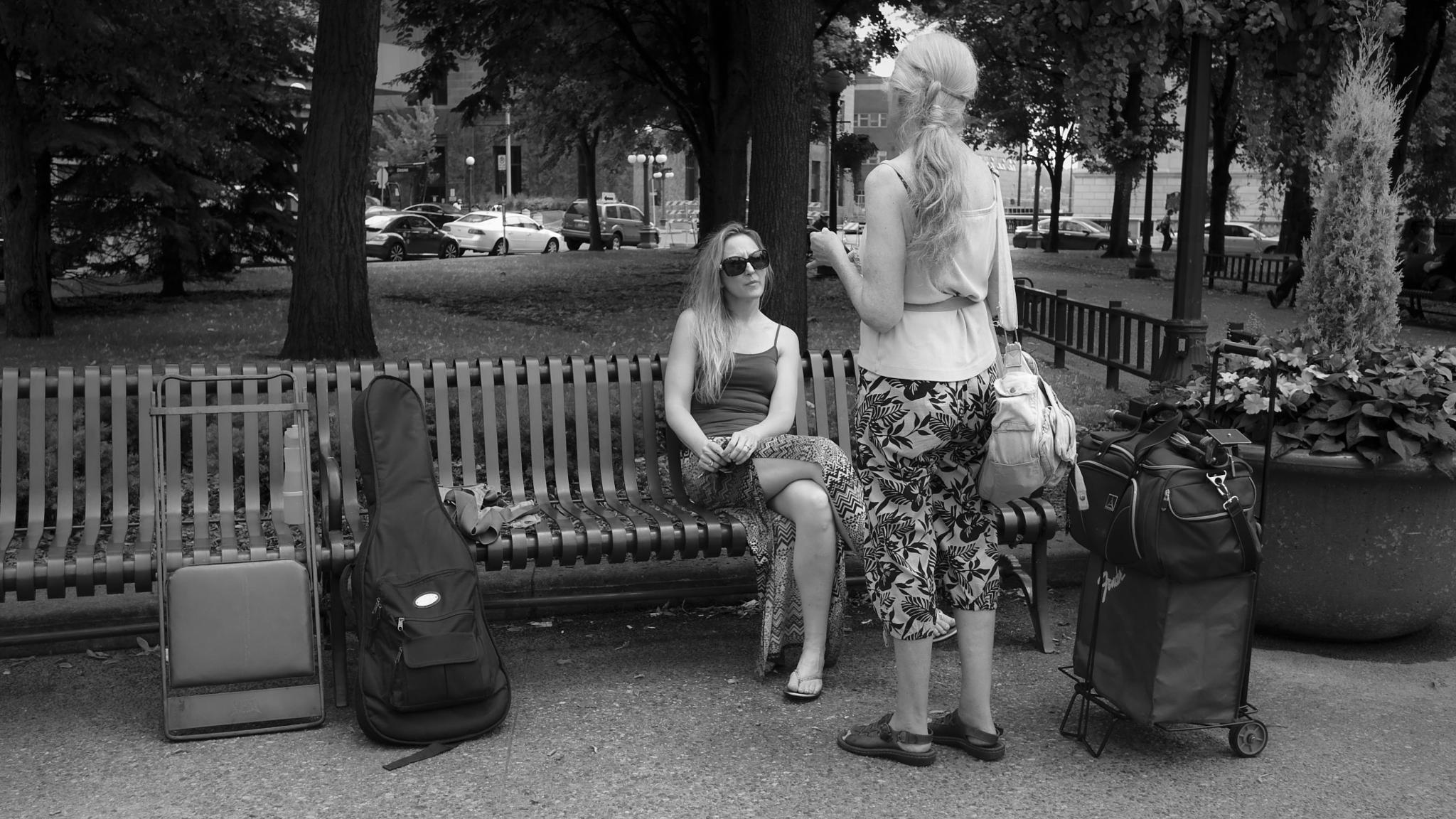 Photo in Street Photography #rice park #st. paul #conversation #bench #black and white #urban #city