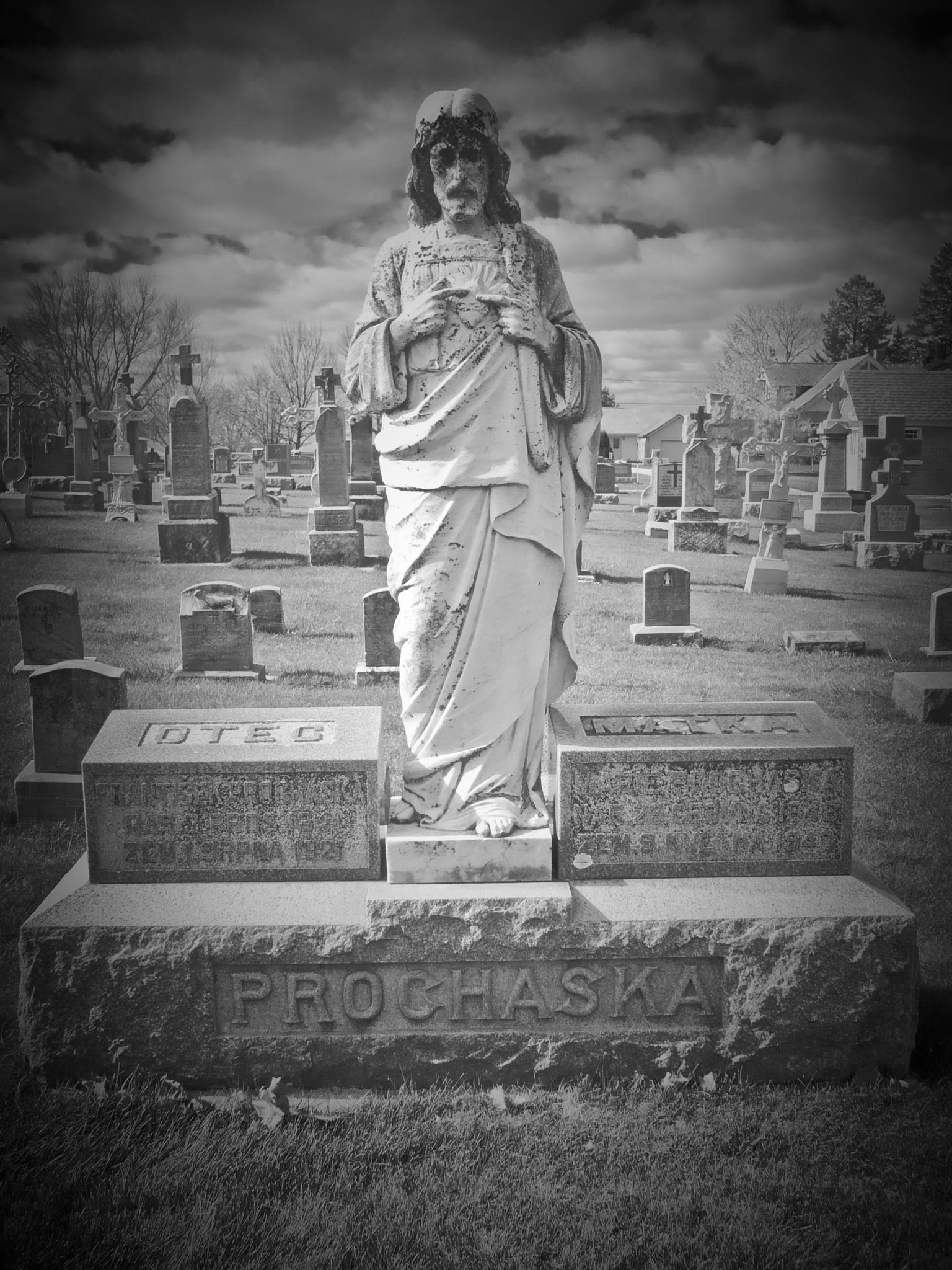 Photo in Black and White #cemetery #monument #protivin #holy trinity catholic church