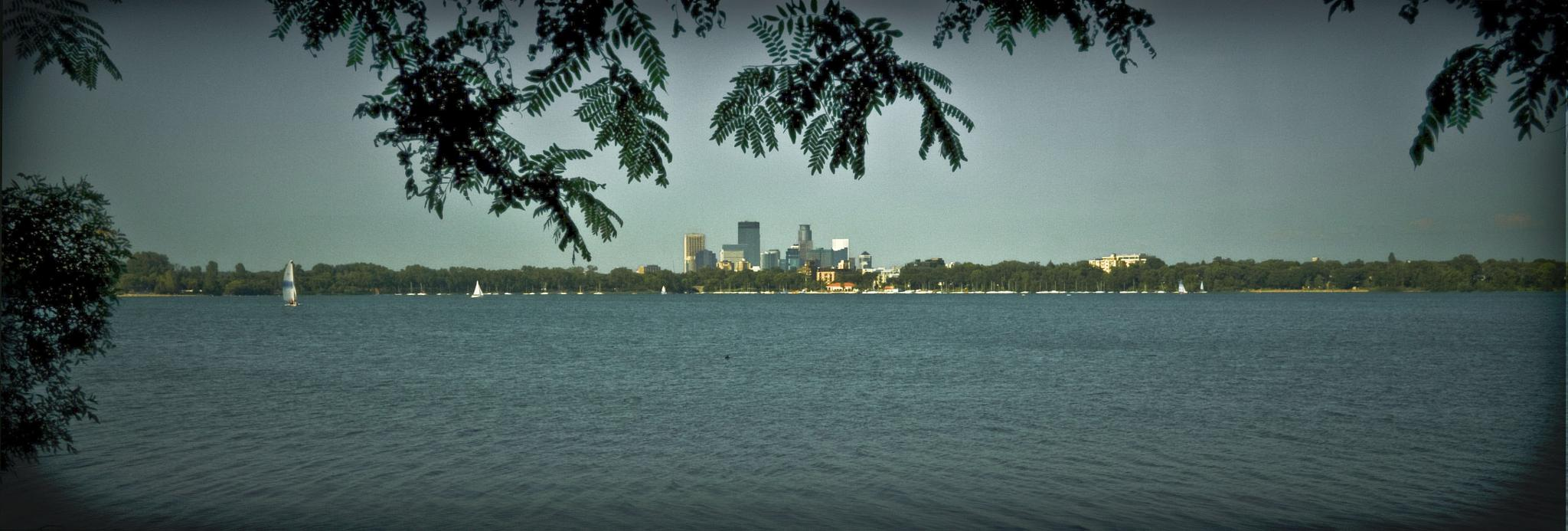 Lake Calhoun - city view from south shore by Robert Henry