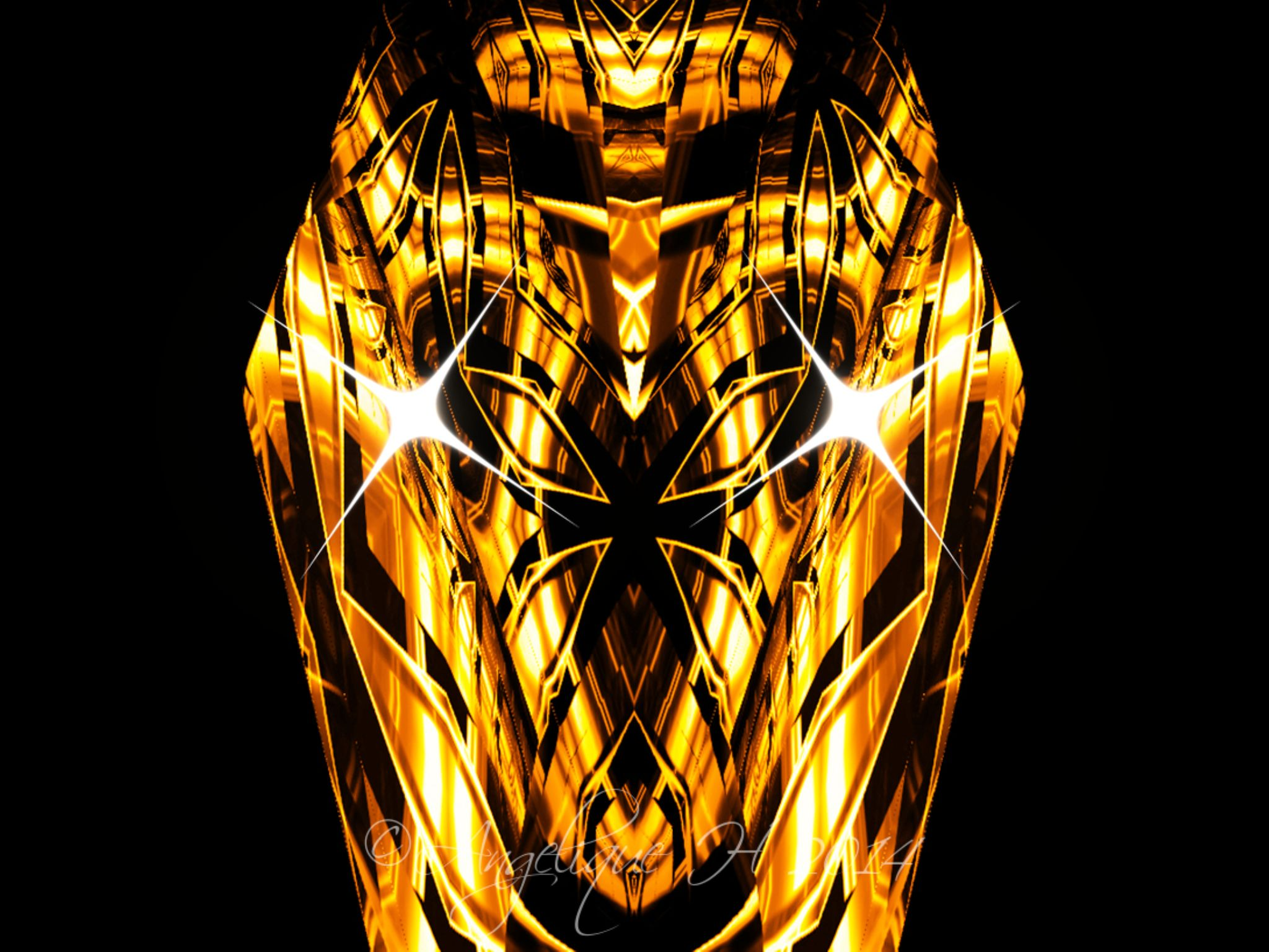 My Own Face Mask,Starshine(2)Mirror:3D Cube- 3d view perspective Metal Perspective 100 Angelique H  by AngeliqueH