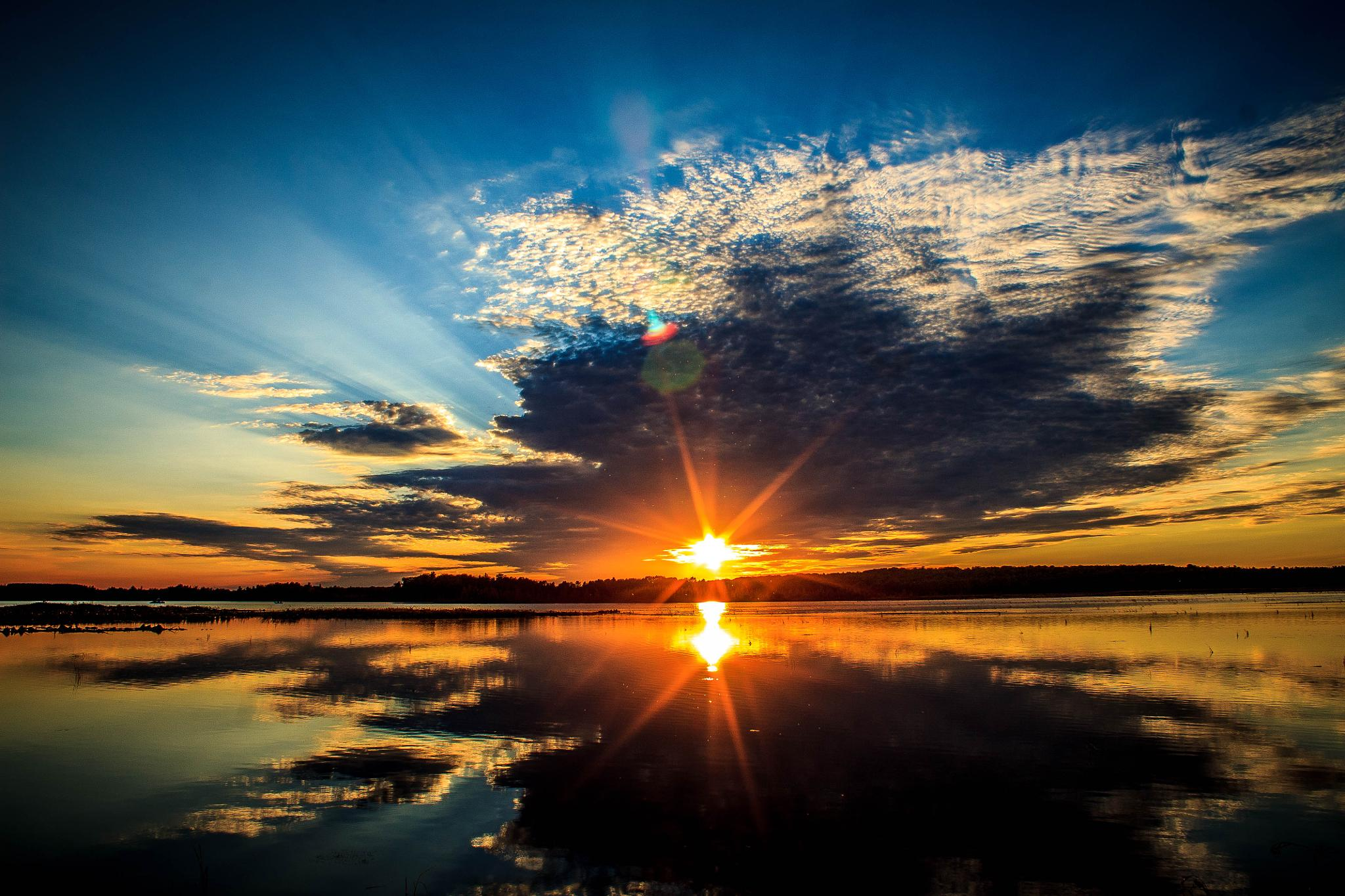 Photo in Landscape #sunset #evening sky #reflections
