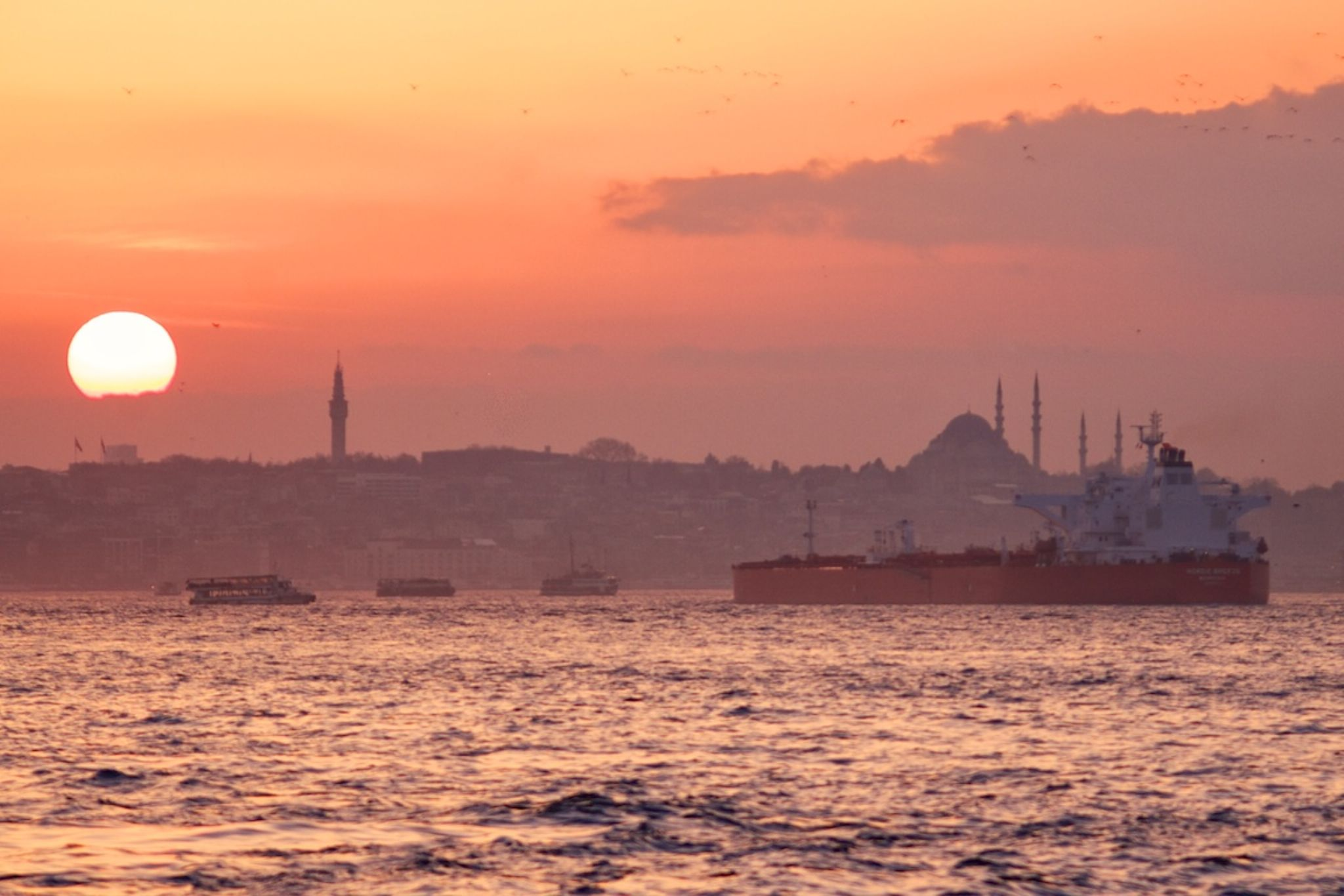The usual bosphorus afternoon colors by Fehmi Ulgener