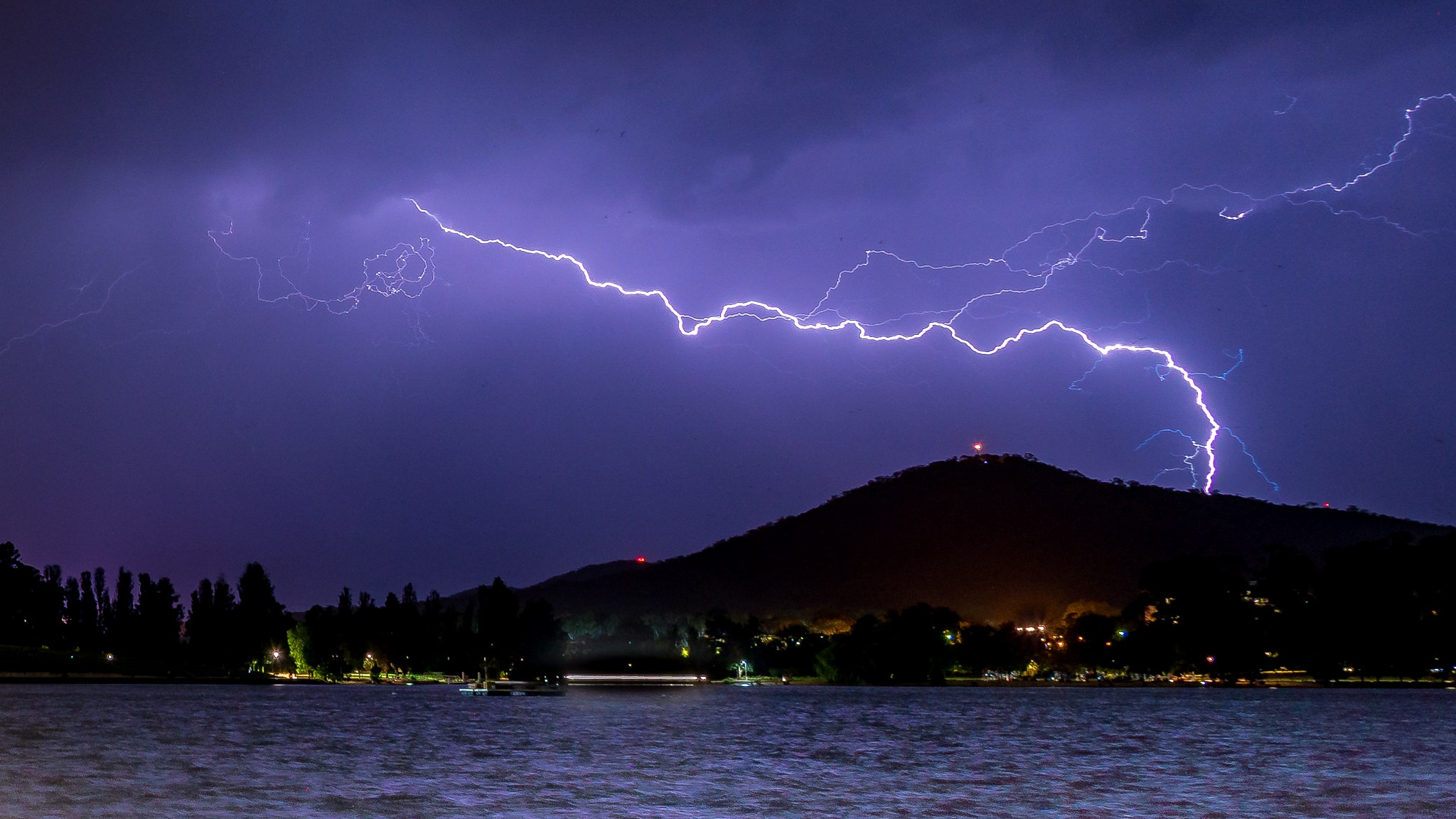 Lightning over lake Burley Griffin by Jimit Patel