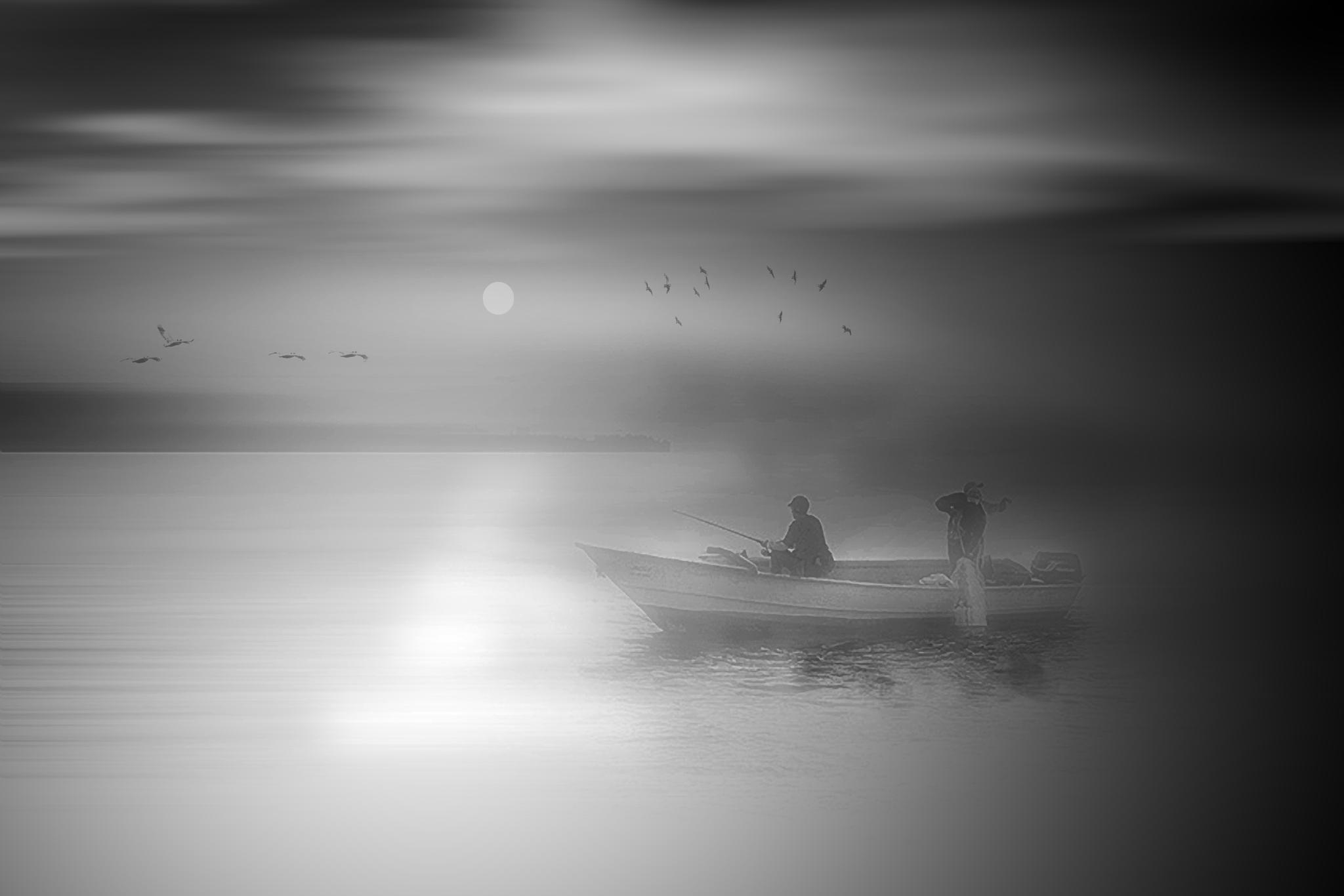 Foggy dawn fishing by Tony Guzman