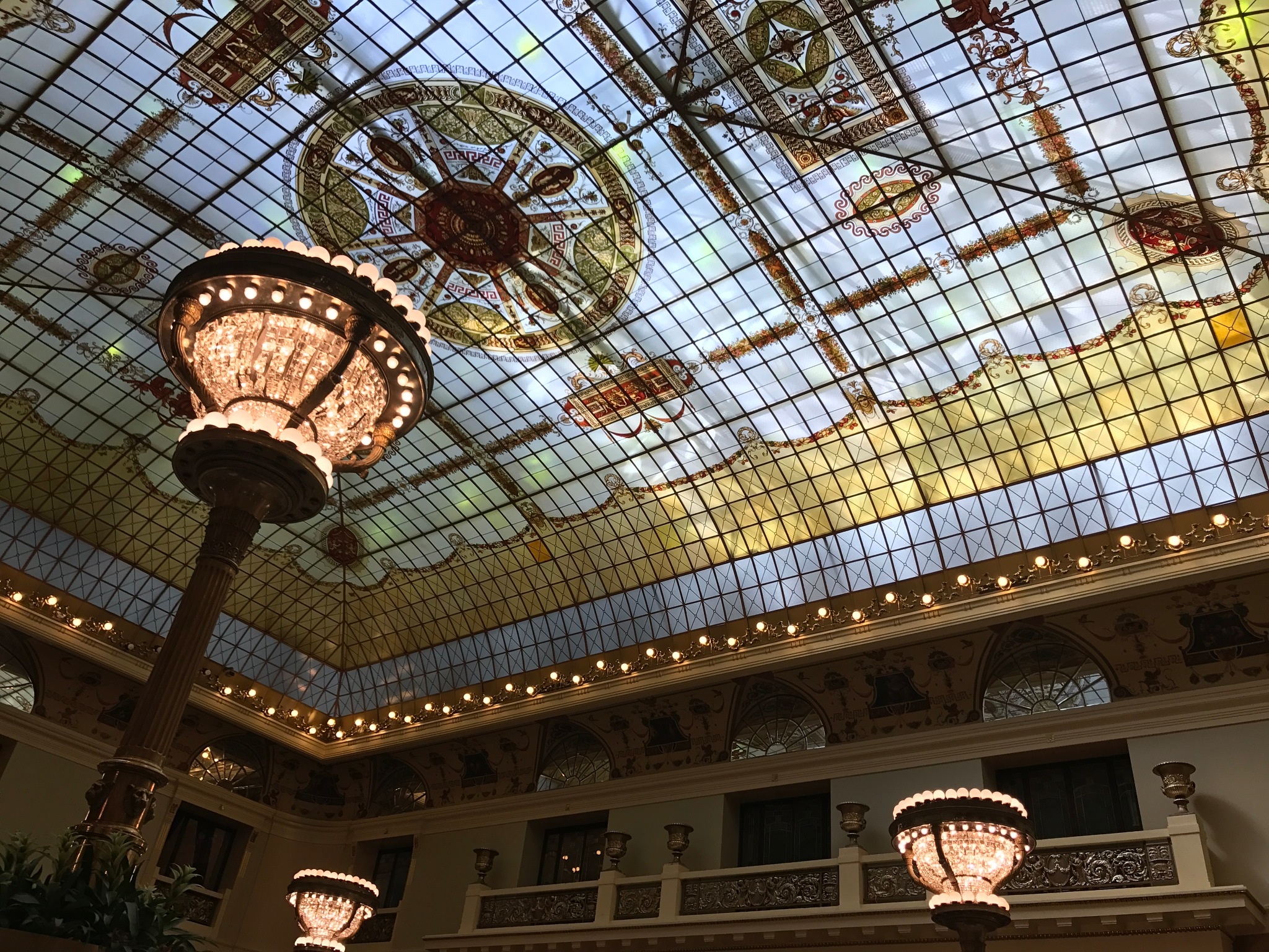 Stained glass ceiling of Metropol Hall by Meggie Knoblock