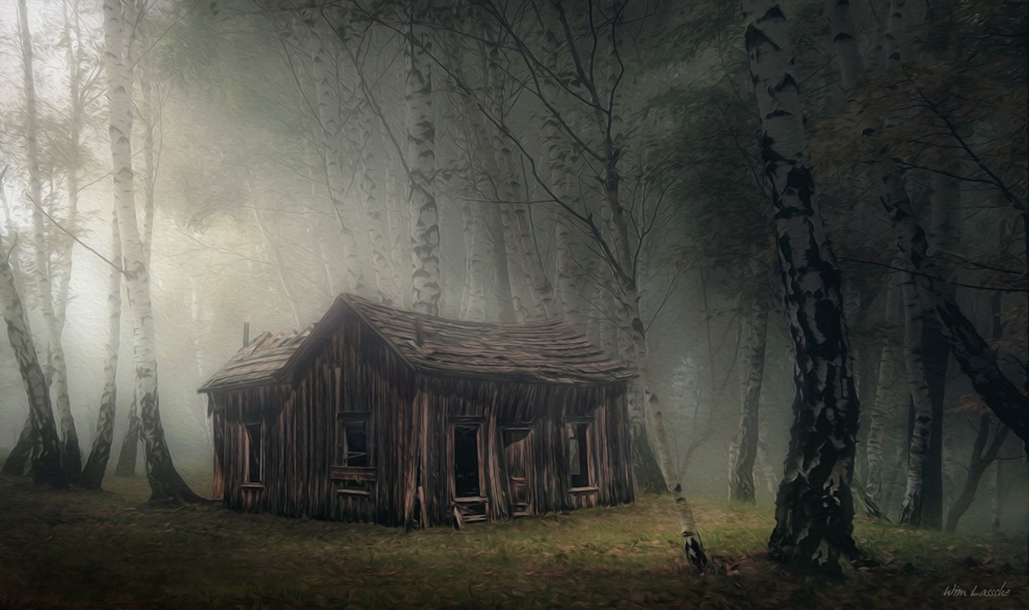 Abandoned hut in the Woods by Wim Lassche