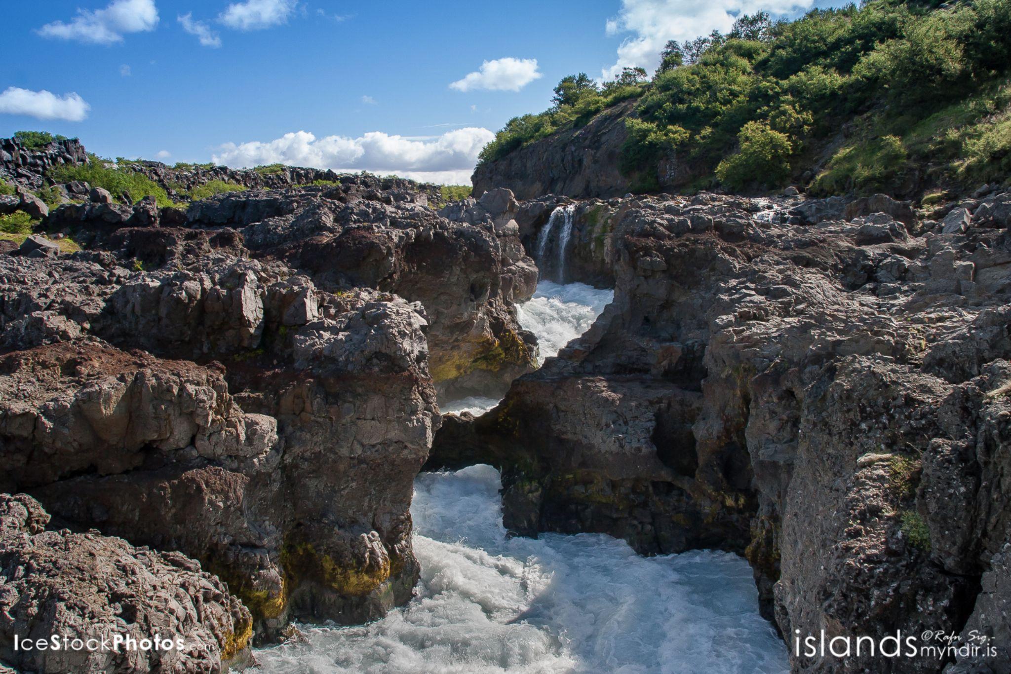 """Barnafossar Waterfall in Borgarfjörður - #Iceland by Rafn Sig,-  @ Discover Wild Iceland.com"