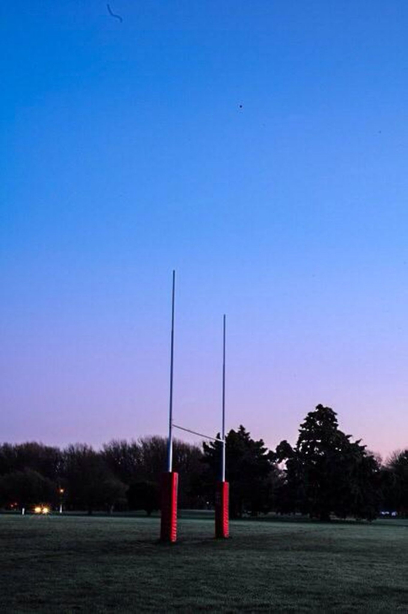 Goalposts in the frost by Hannah Ellis