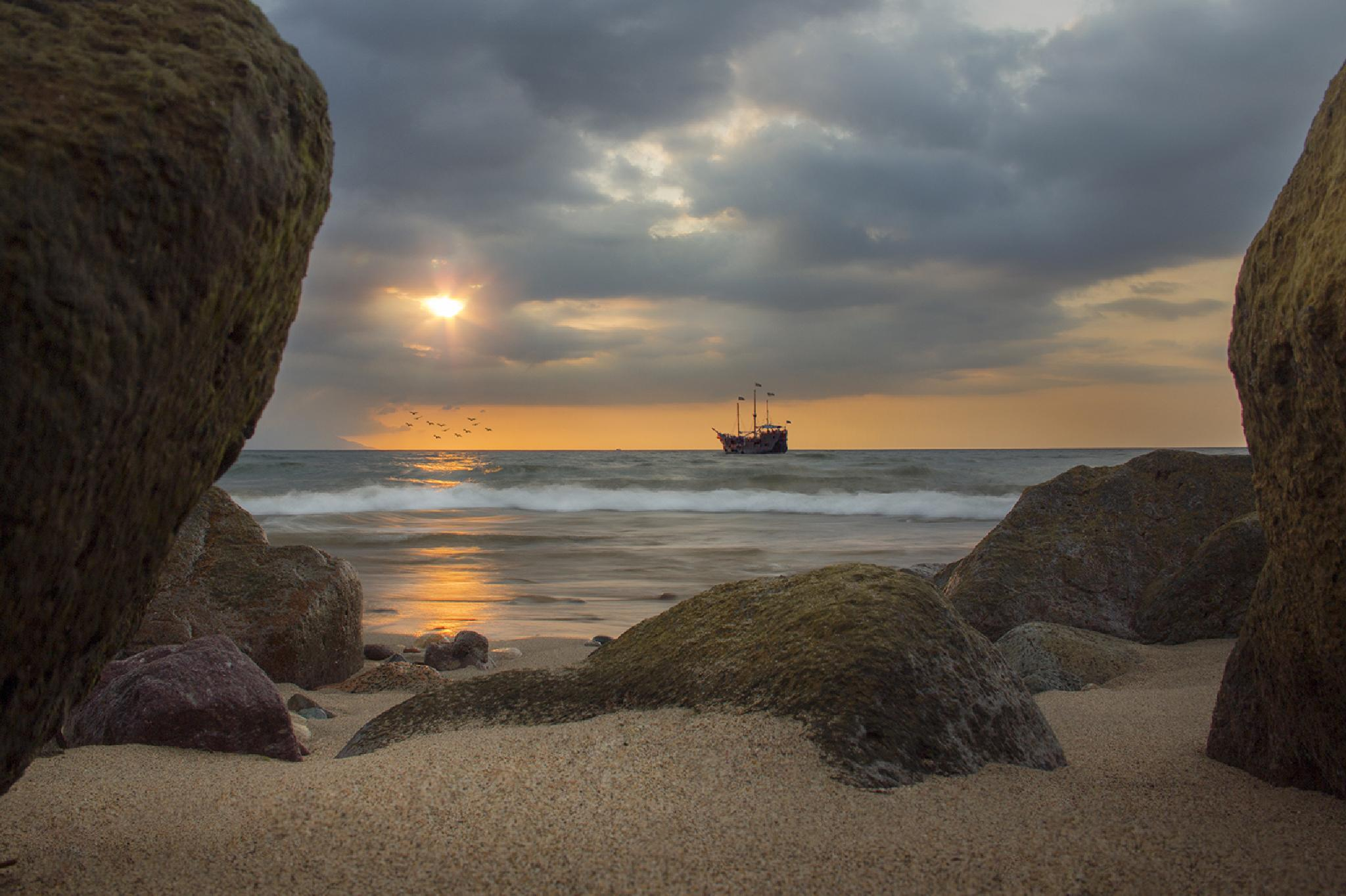 Photo in Landscape #boat #ship #sun #rocks #horizon #sunset #sea #beach #waves #water #sand